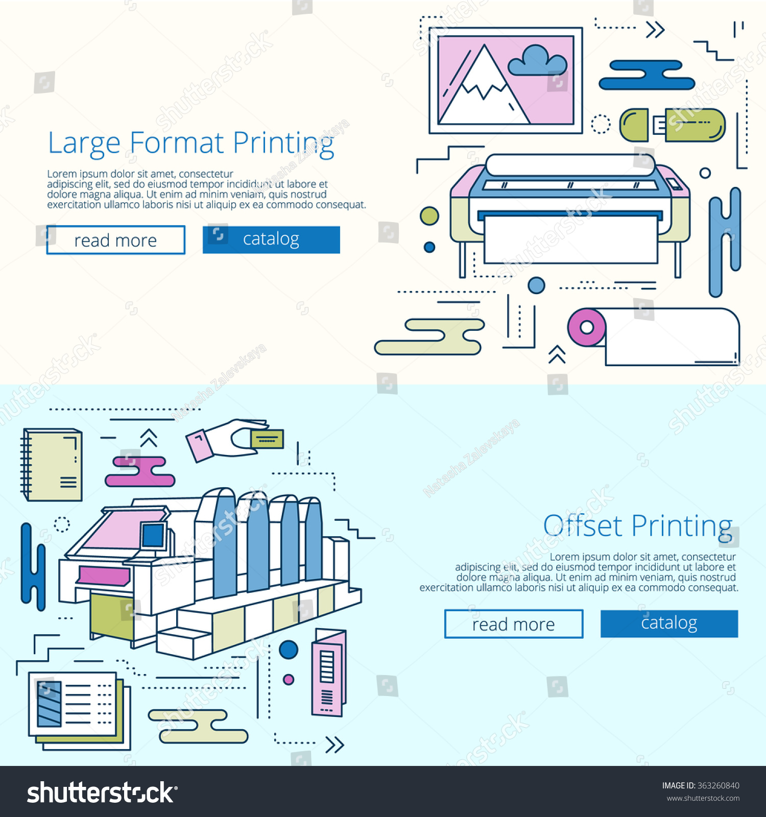 Set Colored Banners Printing House Print Stock Vector Royalty Free Diagram Of Offset As Well Press For Or Shop Machine And Large Format