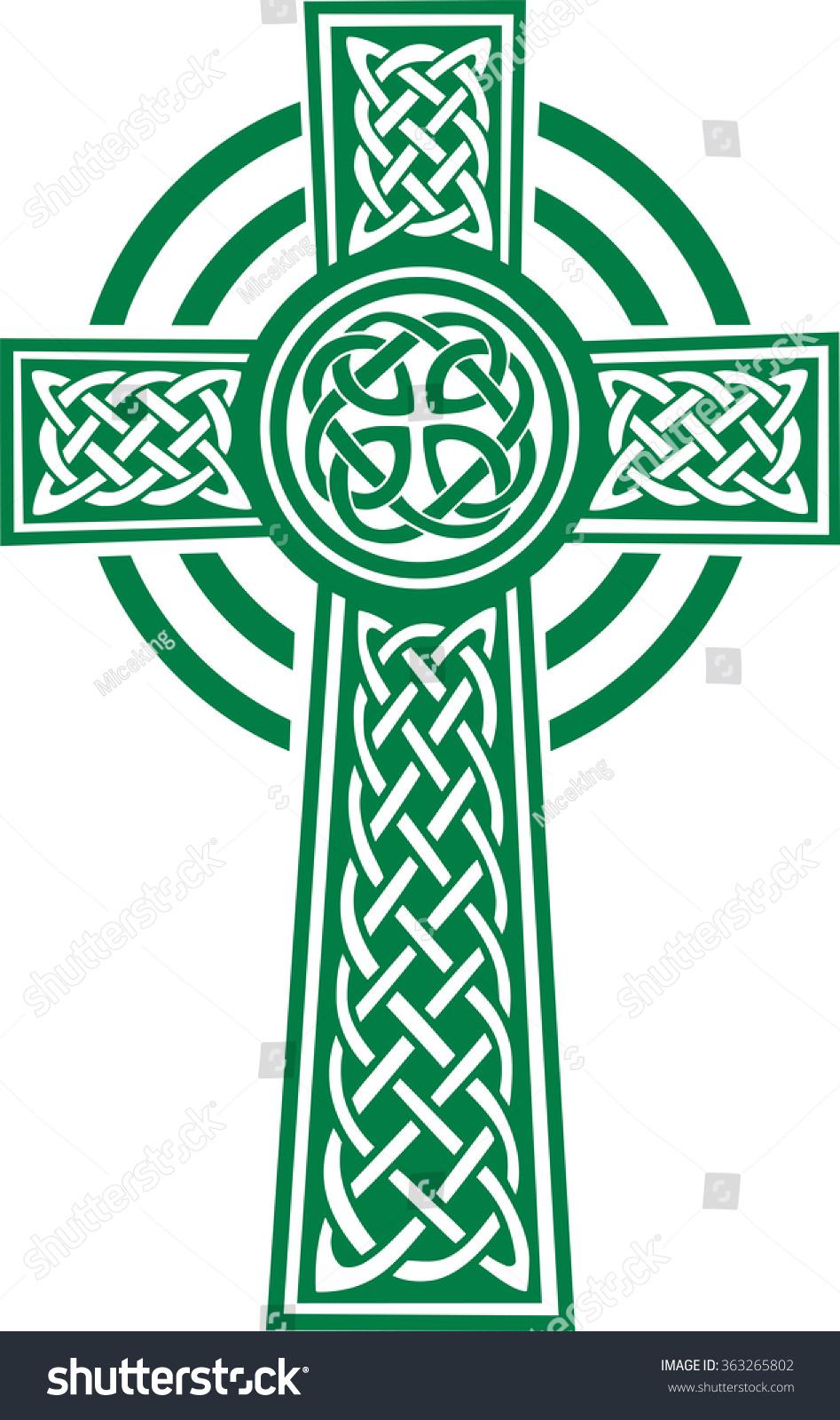 green celtic cross details stock vector 363265802