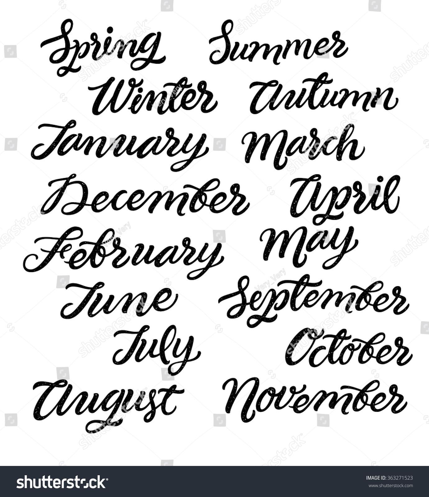 Handwritten months year december january february stock