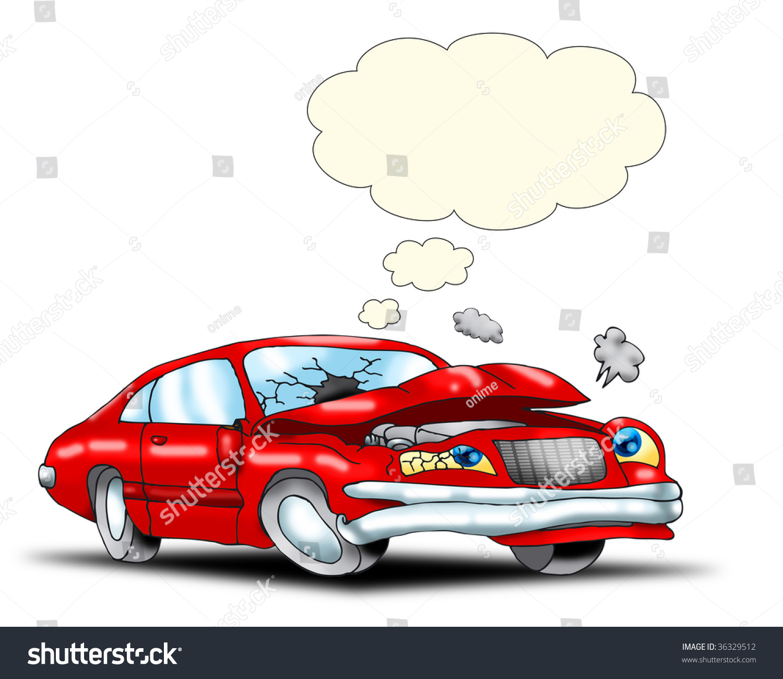 Red Car Destroyed Crash Empty Bubble Stock Illustration 36329512 ...