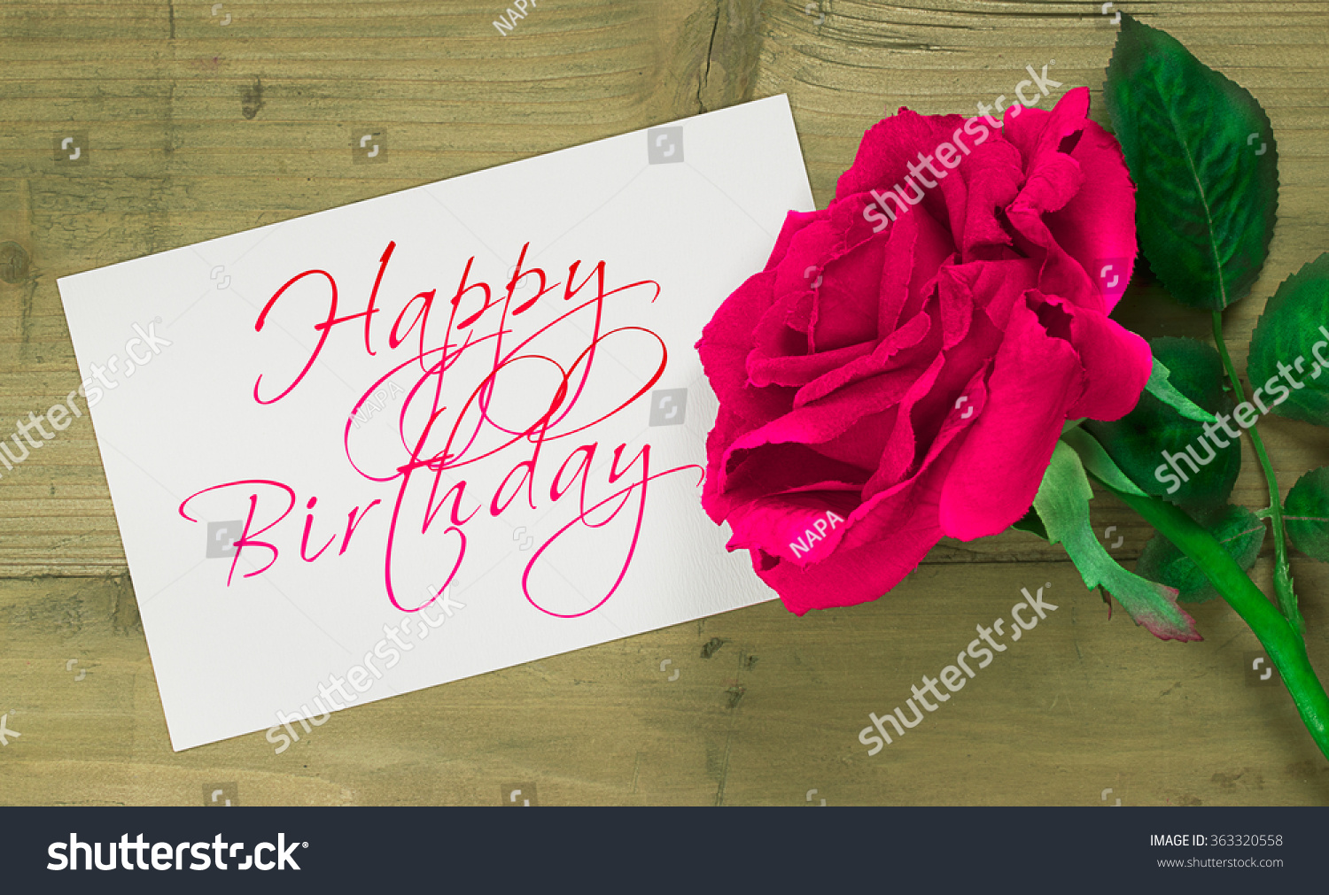 Pink rose flower happy birthday text stock photo edit now pink rose flower with happy birthday text message wooden background izmirmasajfo