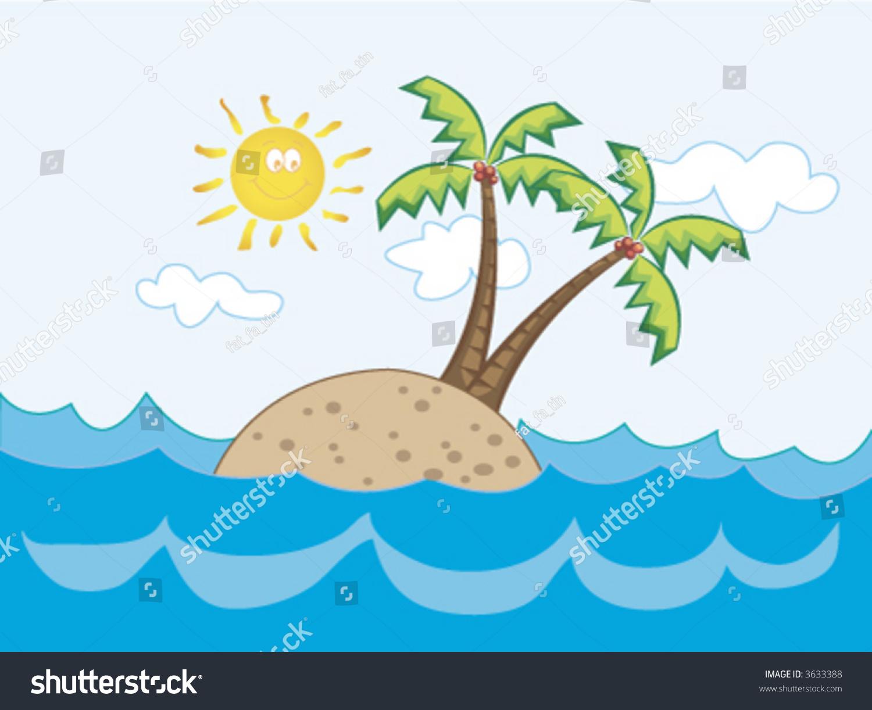 Tropical Island Cartoon: Fun Tropical Island Paradise (Vector)
