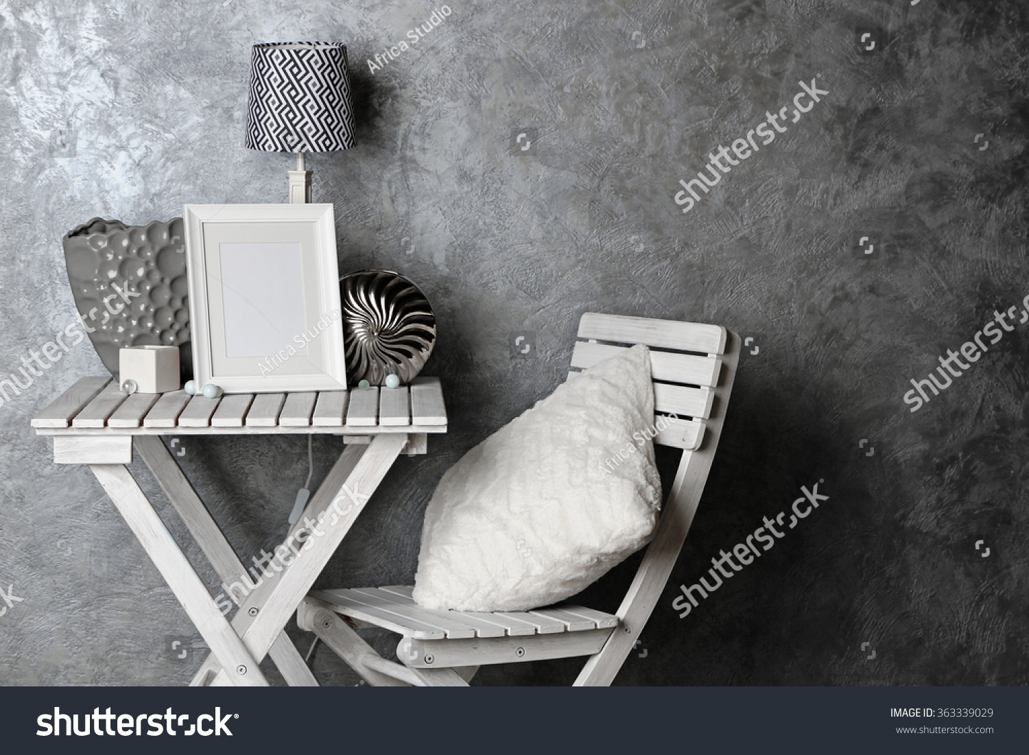 Home Decor On Table On Grey Stock Photo 363339029 Shutterstock