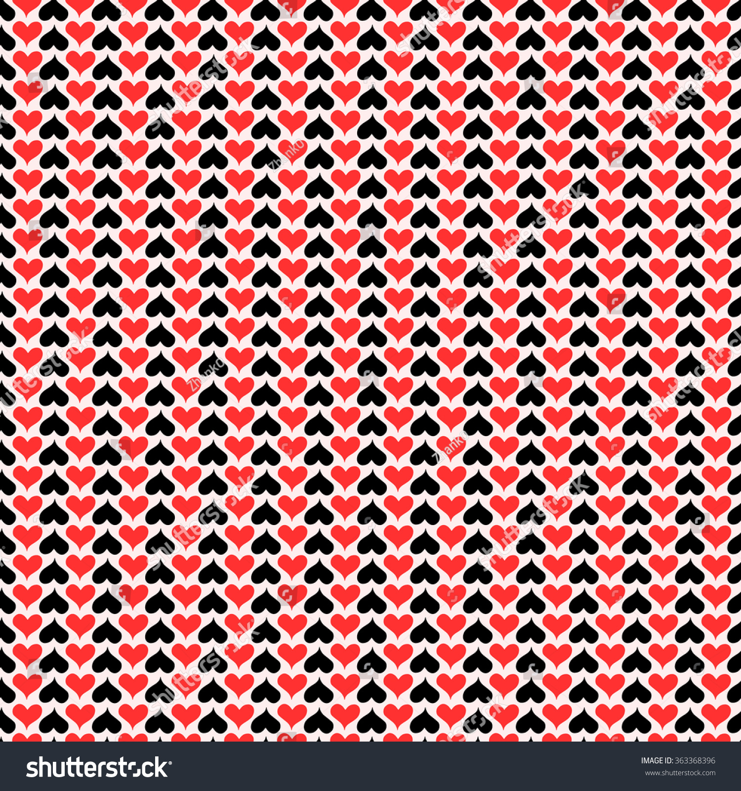 Vector Pattern With Red And Black Hearts On Light Background Seamless Can Be Used