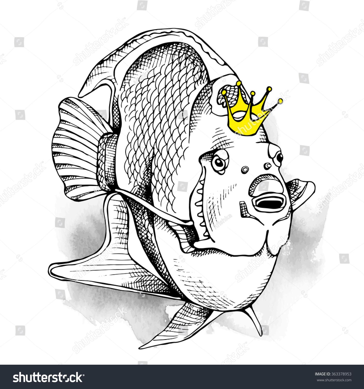 image fish queen angelfish crown vector stock vector 363378953