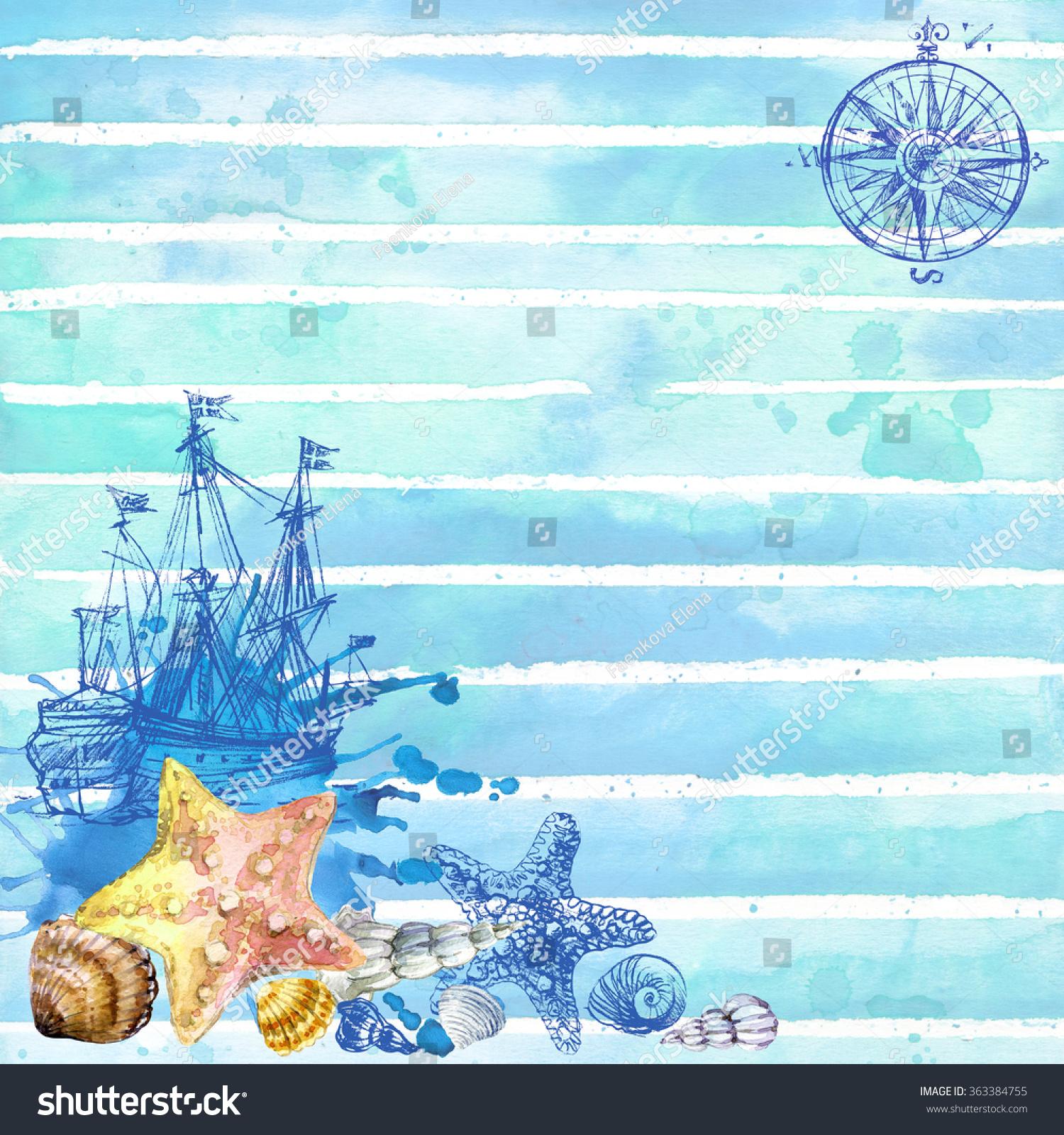 Undersea World Sea Theme Watercolor Wallpaper Stock Illustration ...