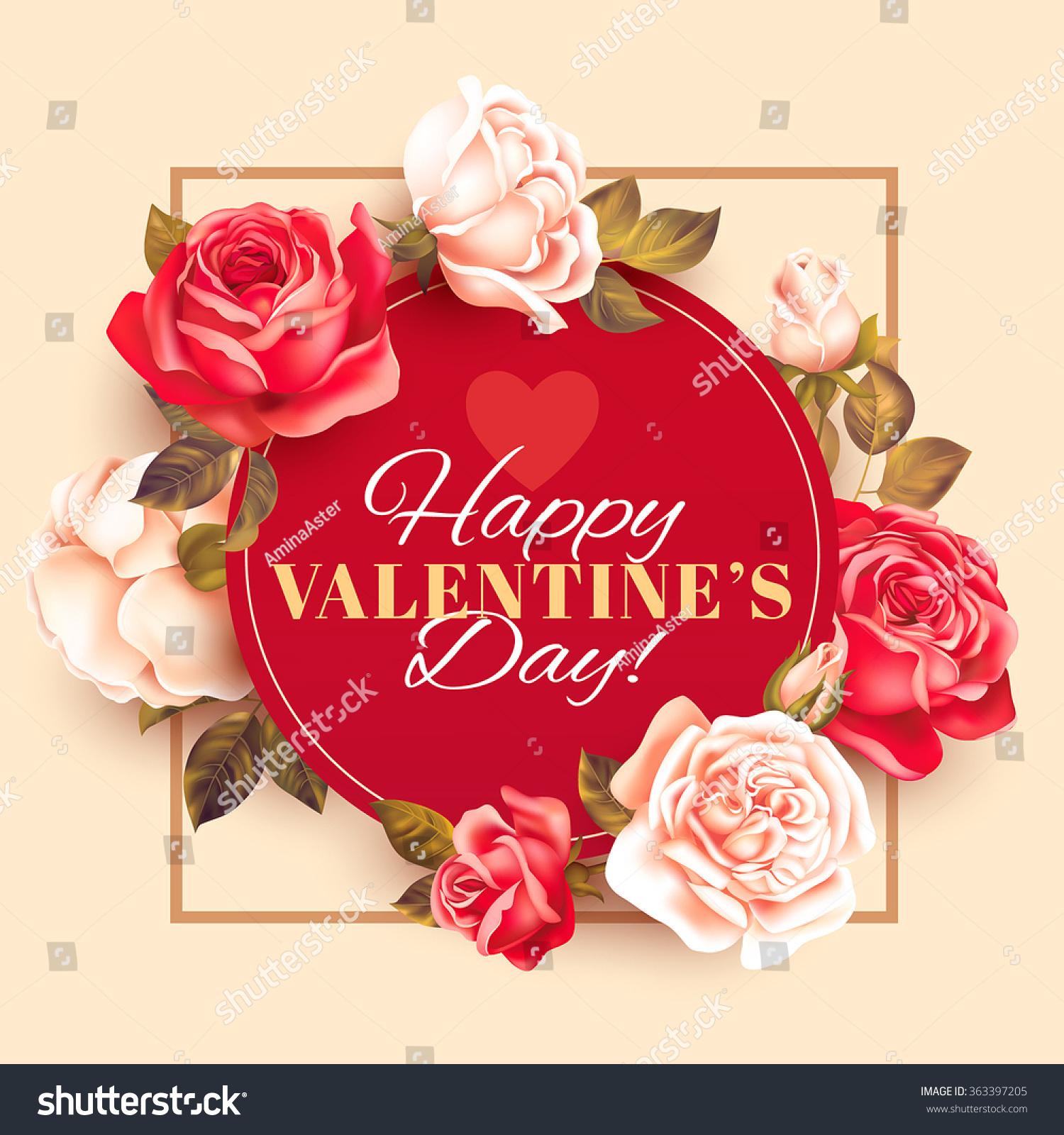 Romantic Valentine Card Roses Vector Illustration Lagervektor – Romantic Valentine Card Images