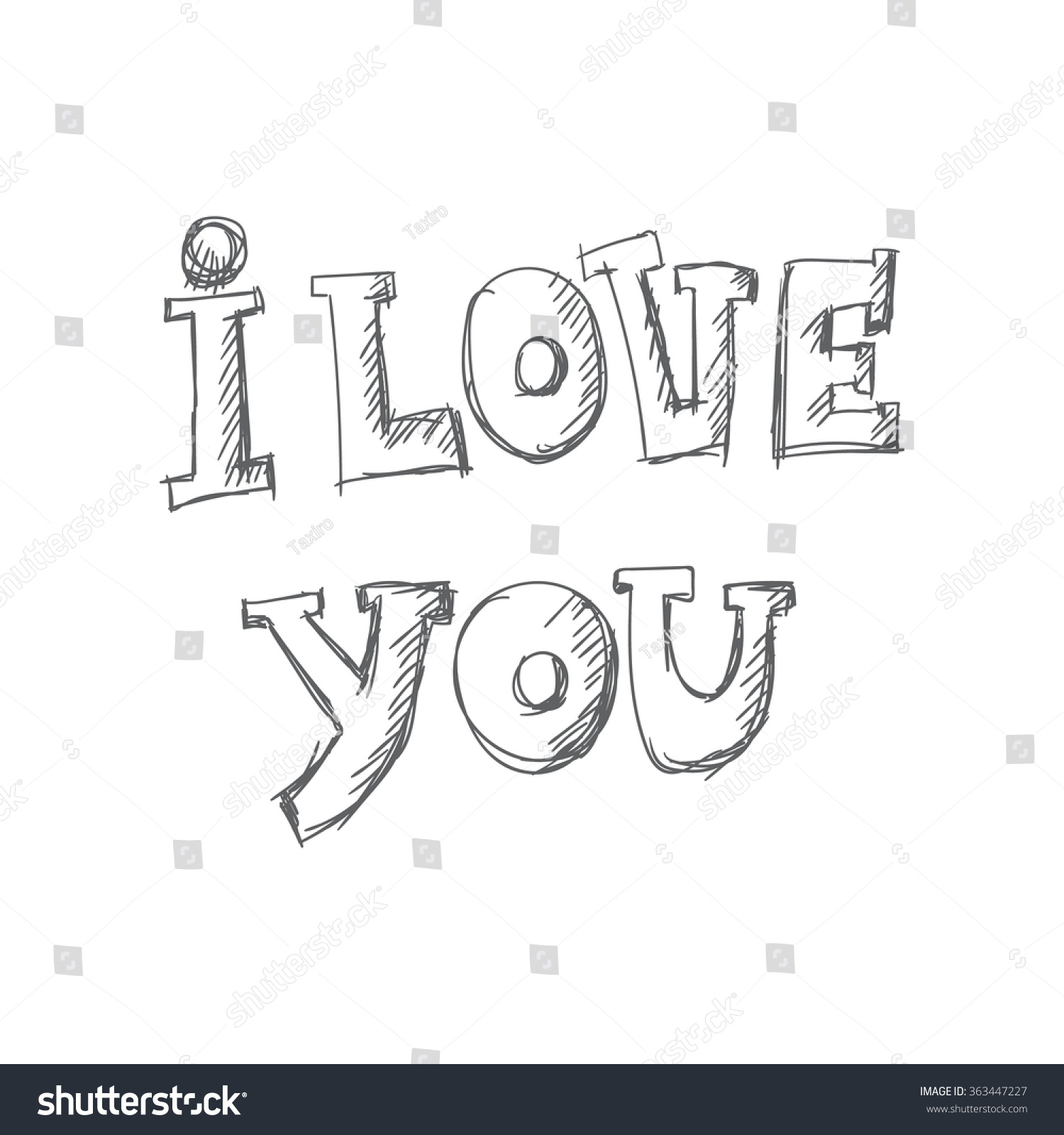 love you hand lettering template card stock vector royalty free