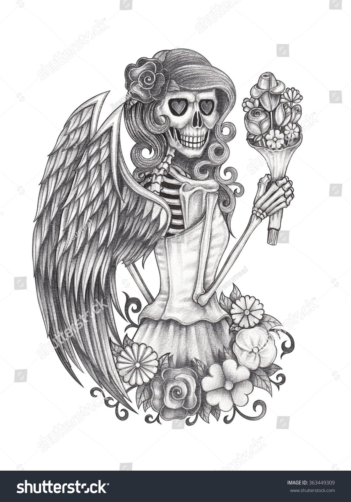 Skull angel hand pencil drawing on stock photo 363449309