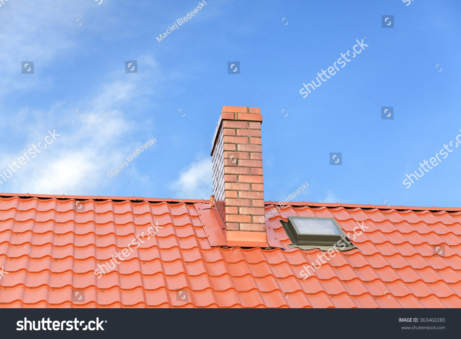 Roof ceramic tile chimney against blue stock photo 363460280 roof with ceramic tile chimney against blue sky space for text dailygadgetfo Choice Image