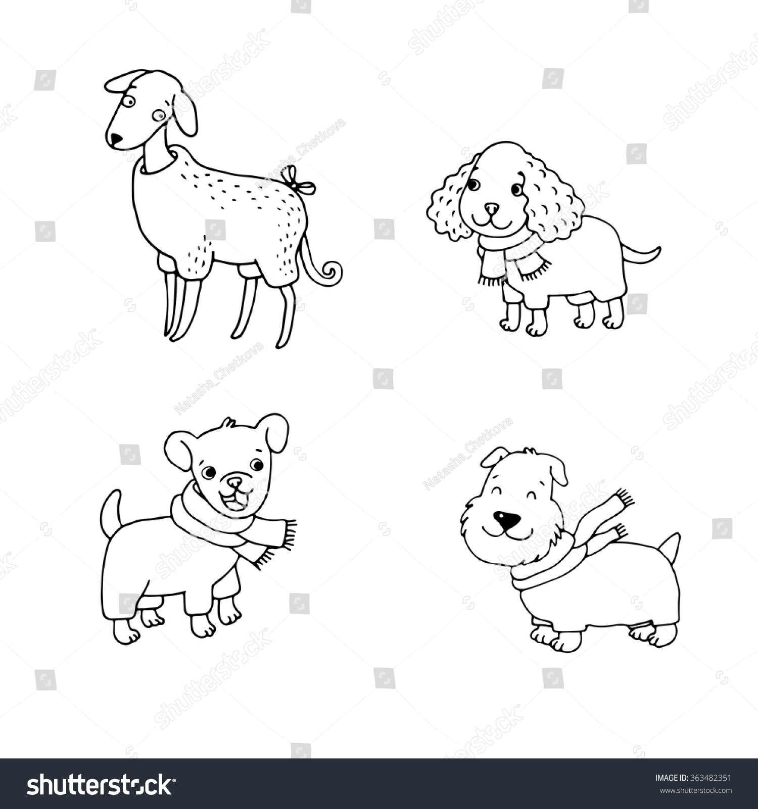 Cute Cartoon Dogs Winter Clothes Italian Stock Vector 363482351