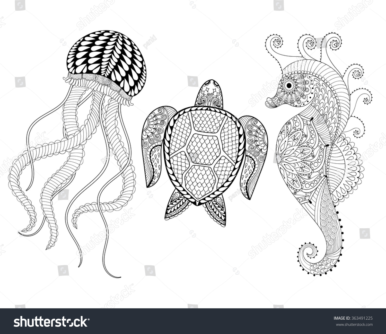 hand drawn sea horse jellyfish turtle stock vector 363491225