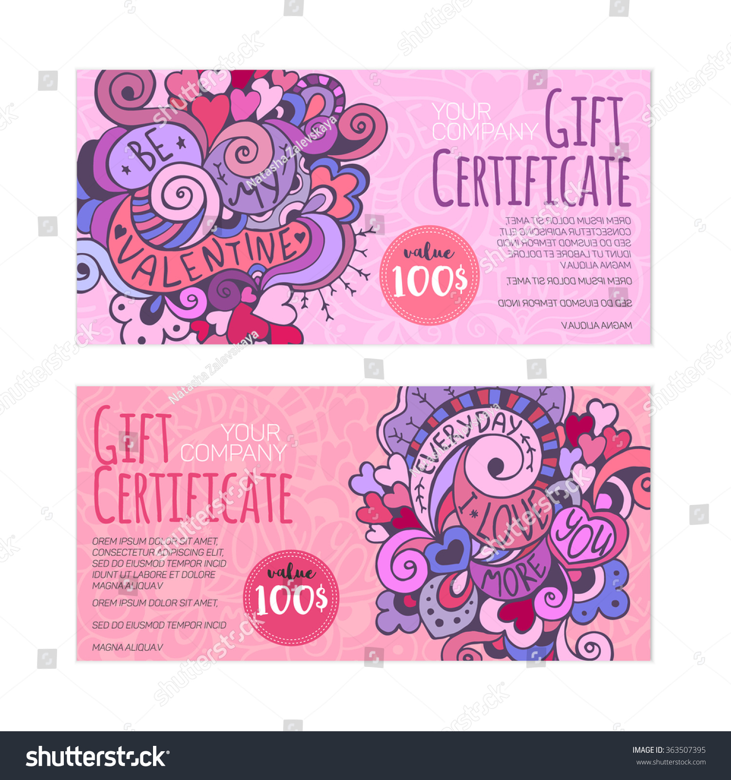 Set nice gift certificate templates hand stock vector 363507395 set of nice gift certificate templates with hand drawn doodle illustration on valentines day theme xflitez Gallery