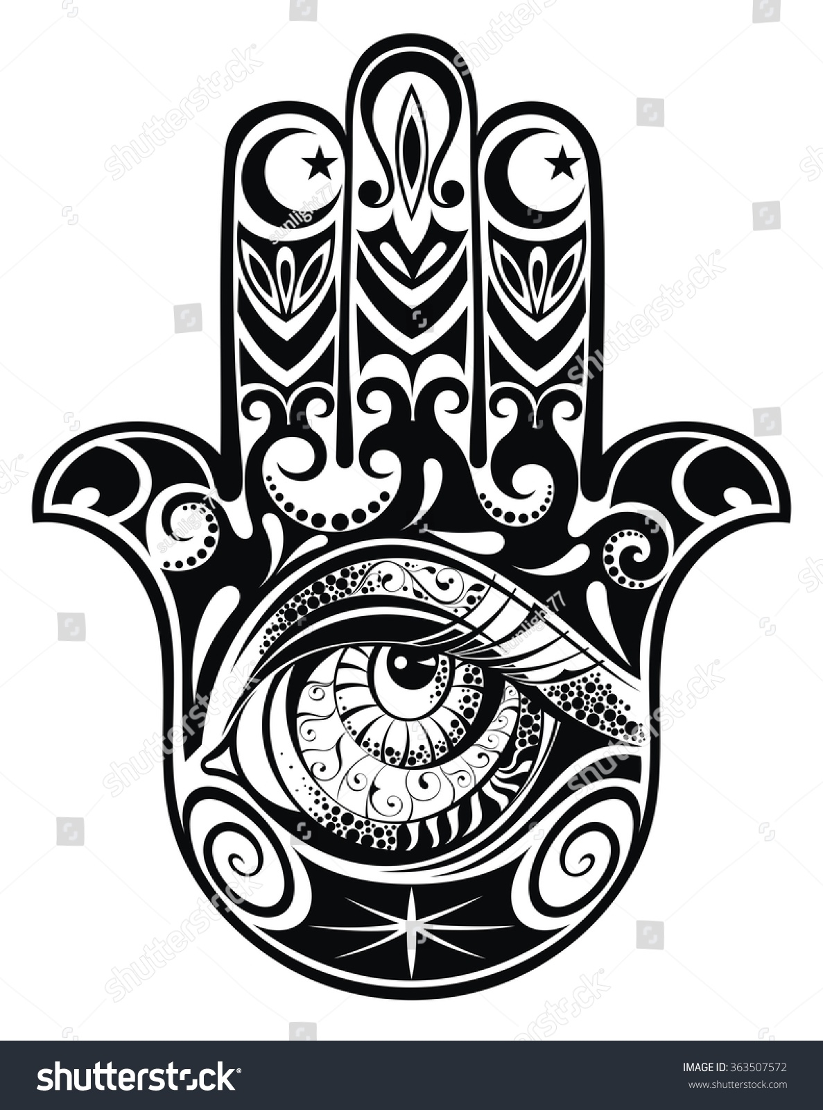 Hamsa Hand Fatima Vector Illustration Stock 363507572 Shutterstock