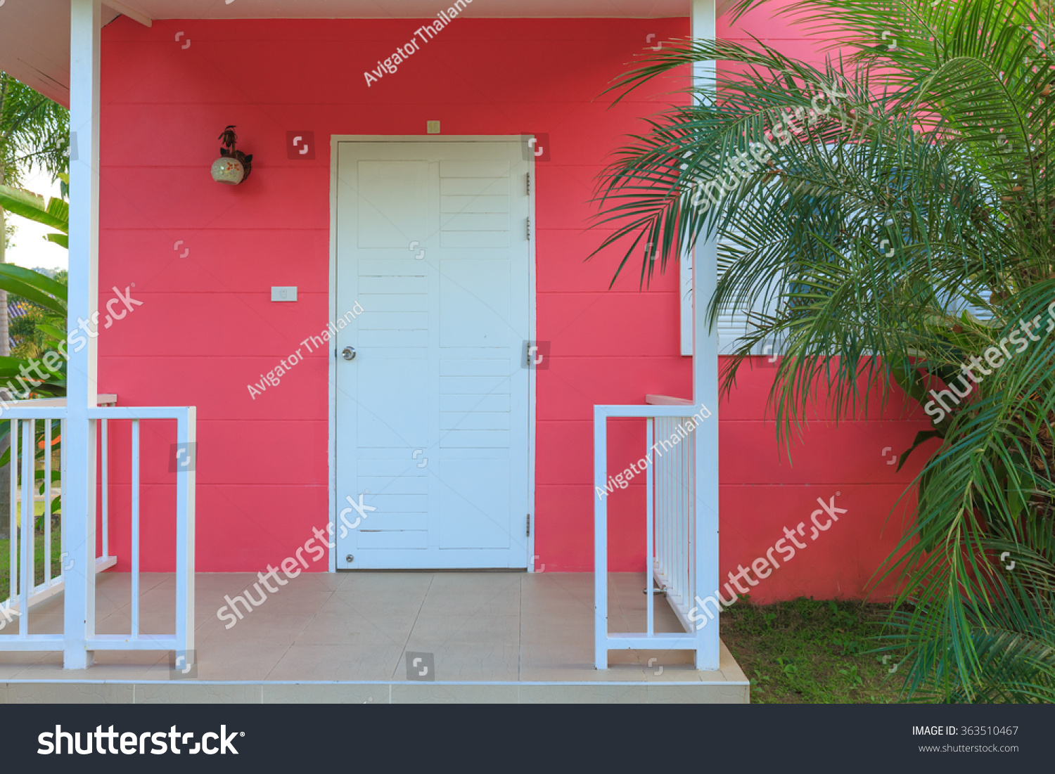 Exterior House Hotel Room Pink House Stock Photo (Edit Now ...