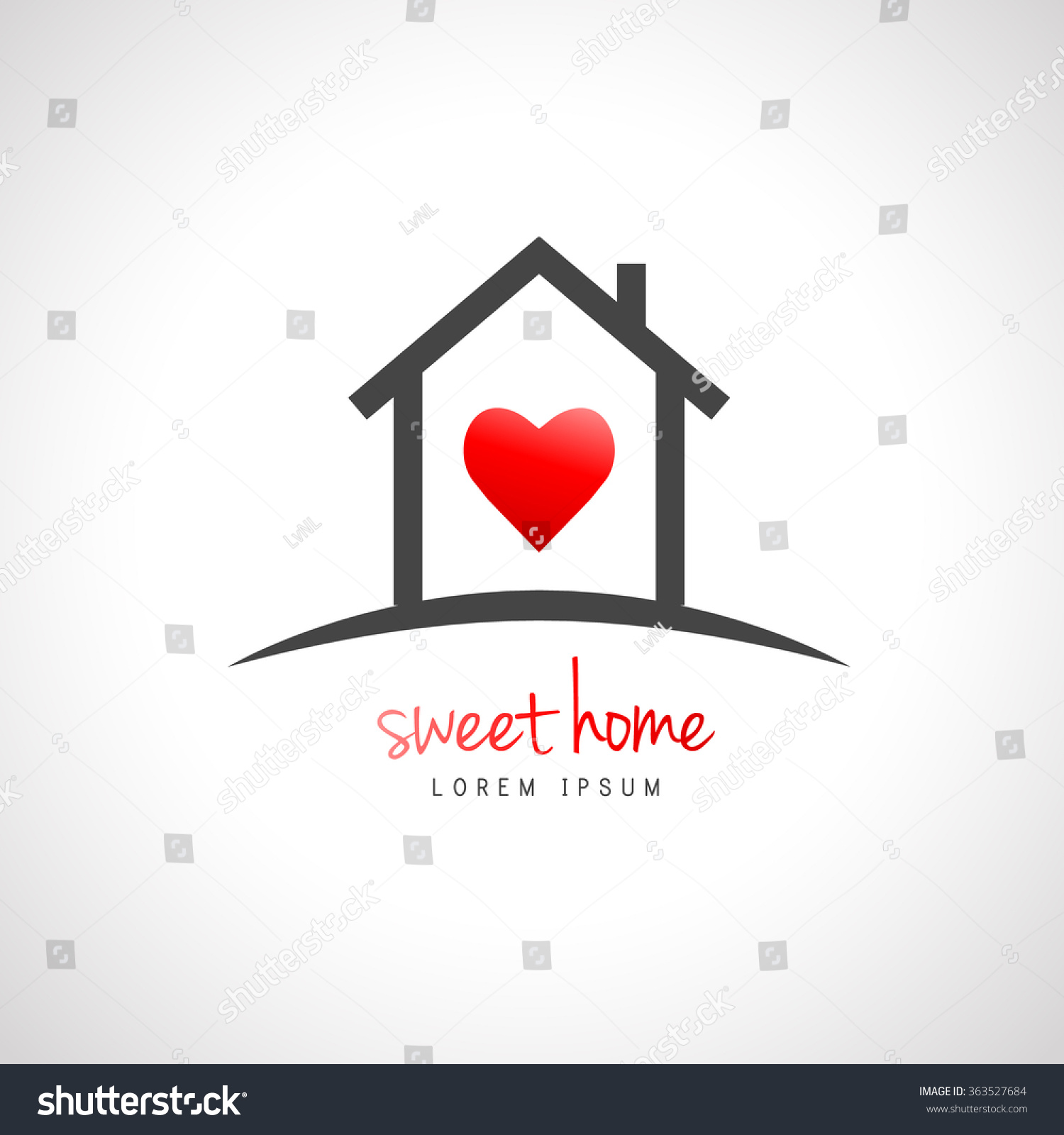 Good House Design Websites Free #2: Stock Vector House Logo Design  With Heart Inside Home Concept 363527684