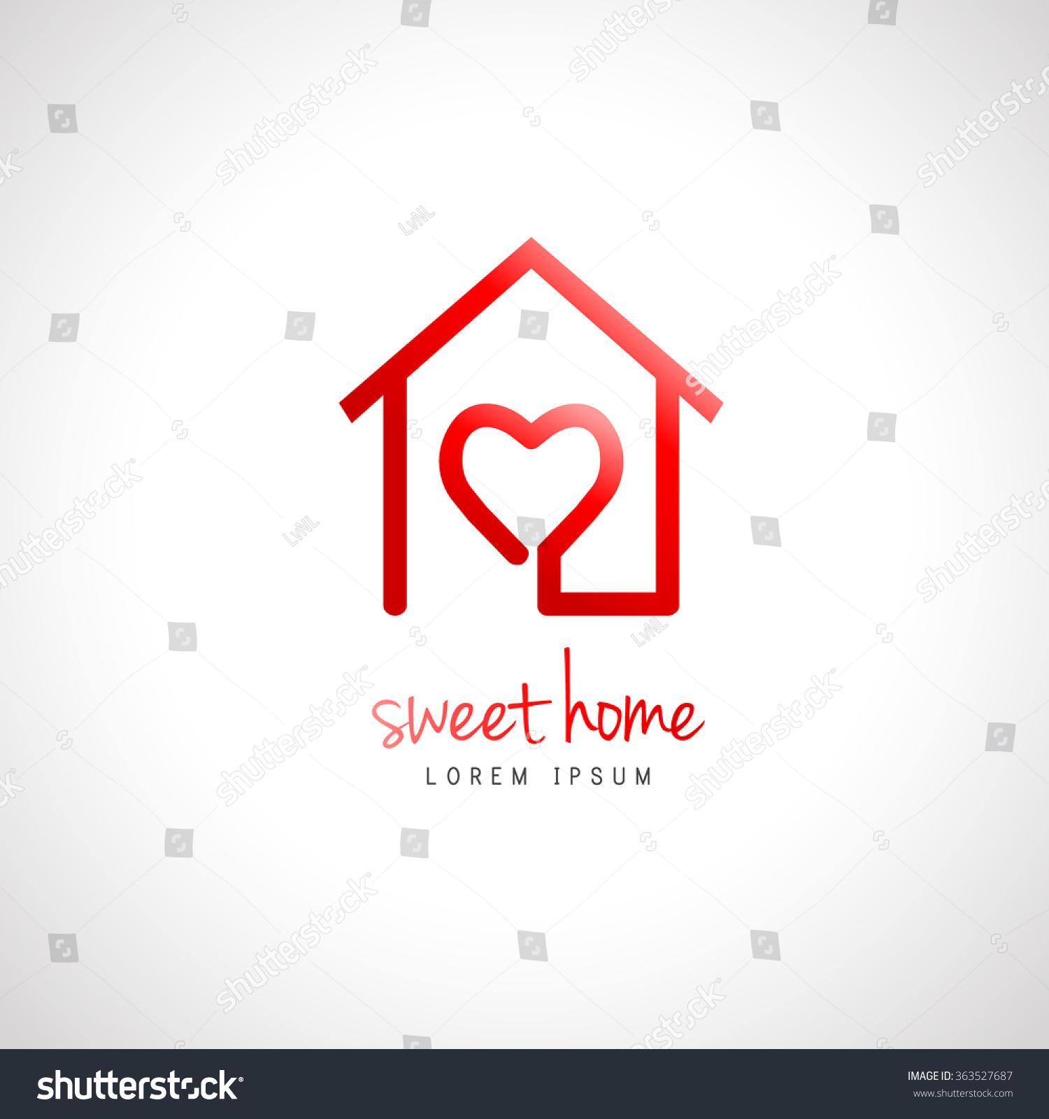 Abstract Home Logo Heart Inside House Stock Vector 363527687 ...