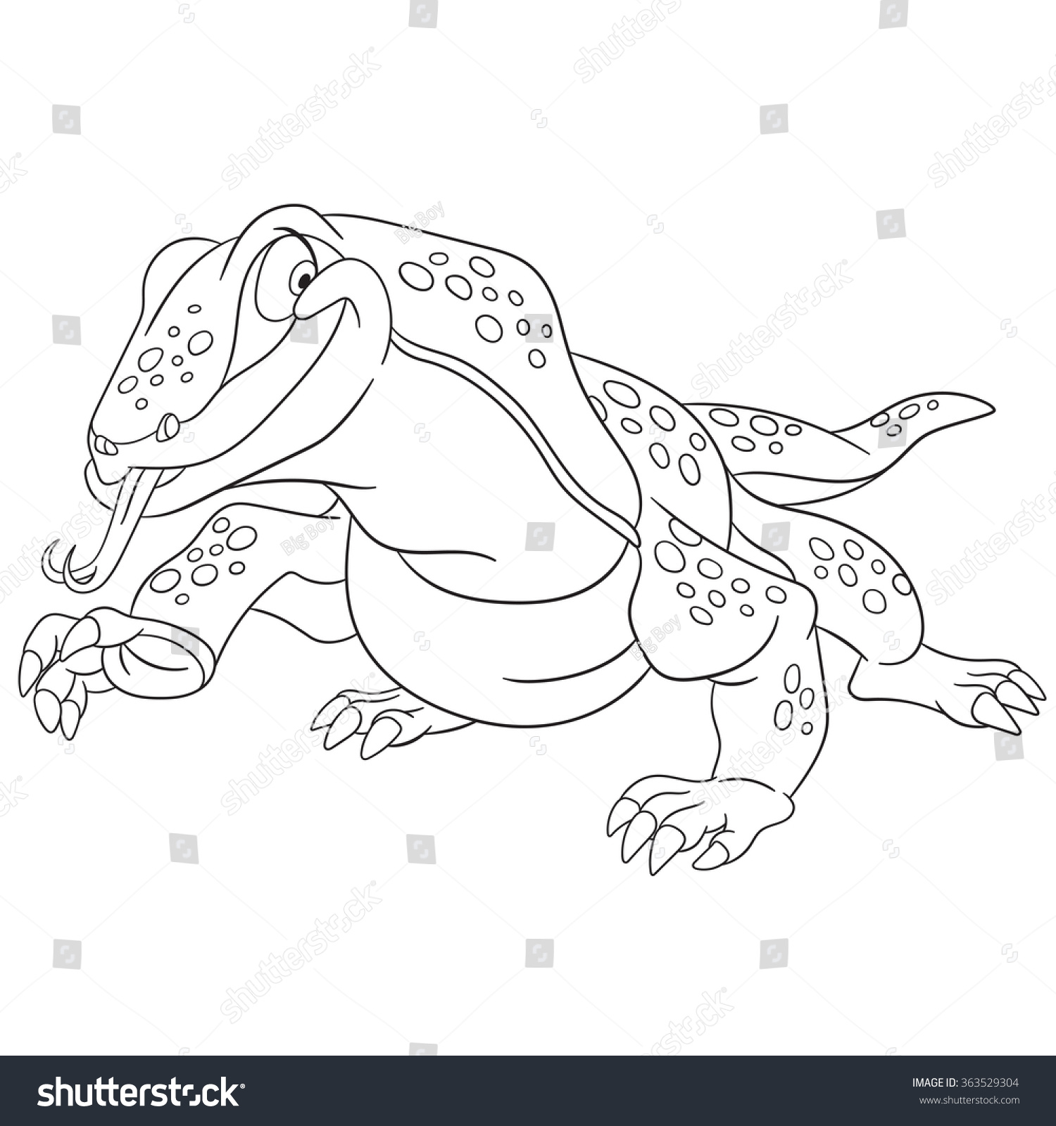 cute happy cartoon varan komodo dragon stock vector 363529304
