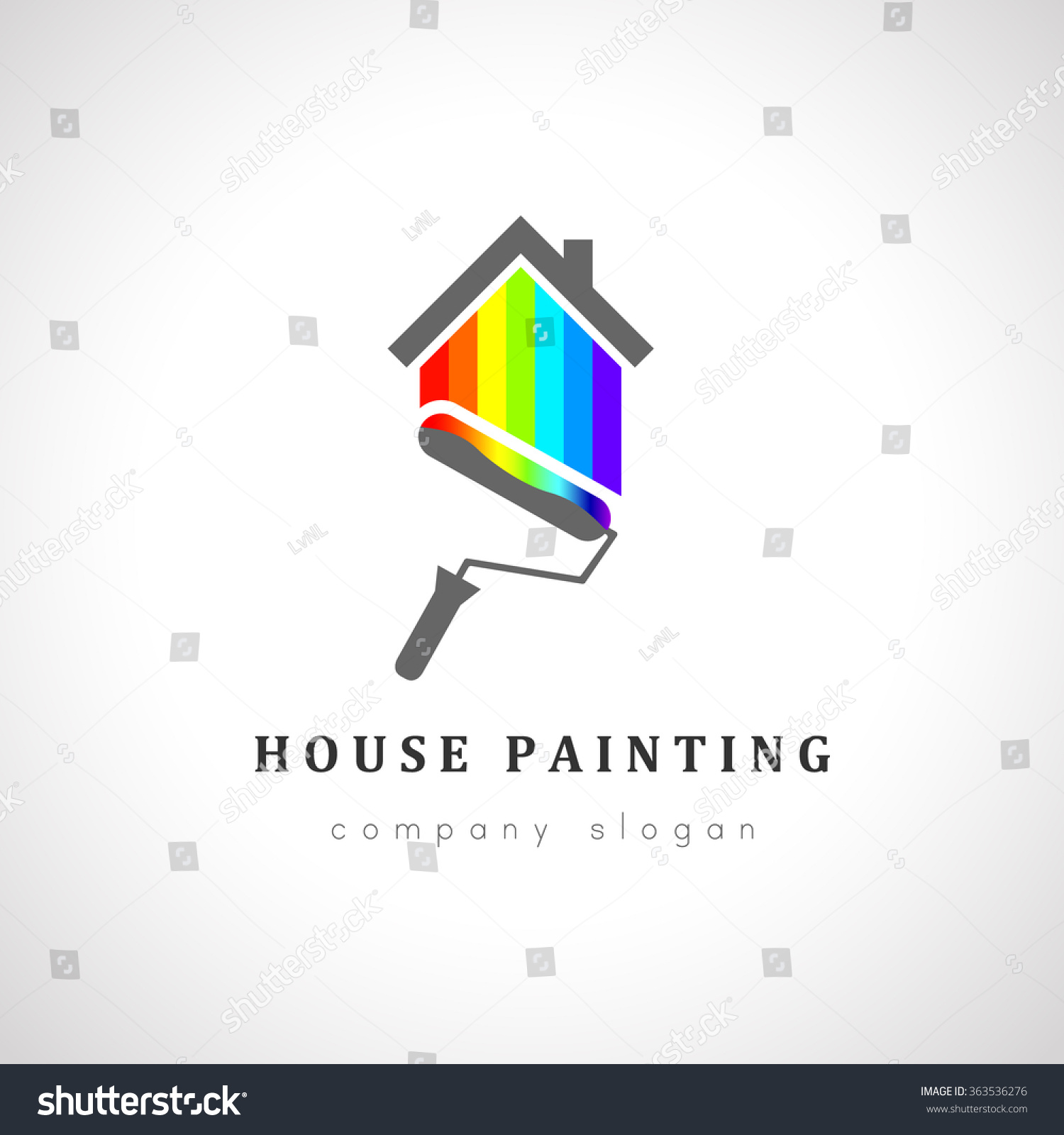 Painter Decorator Sign Stock Vector: House Painter Logo Design Painting Roller Stock Vector