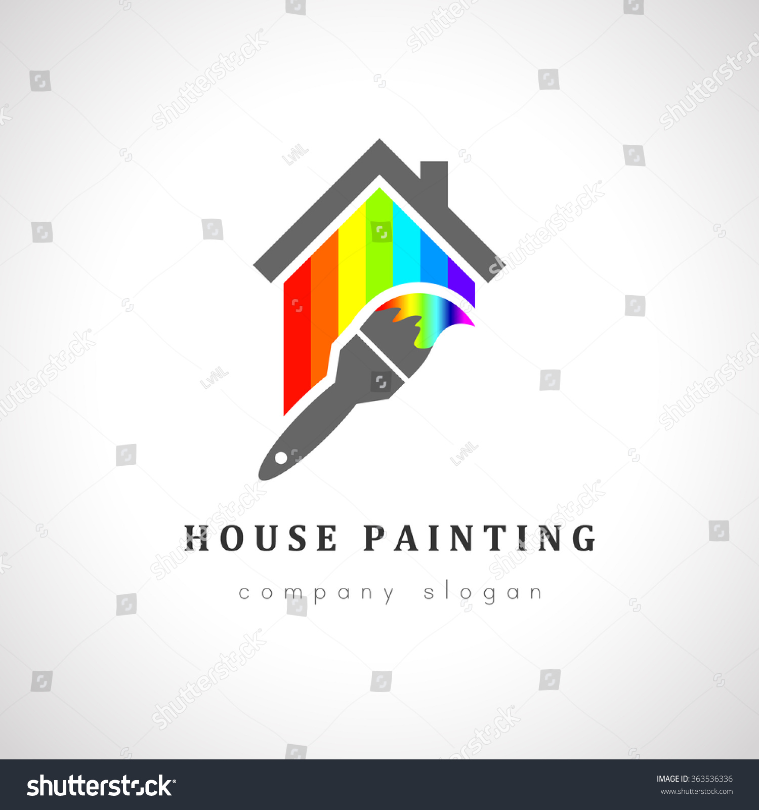 House painter logo design paint brush stock vector for Household design company