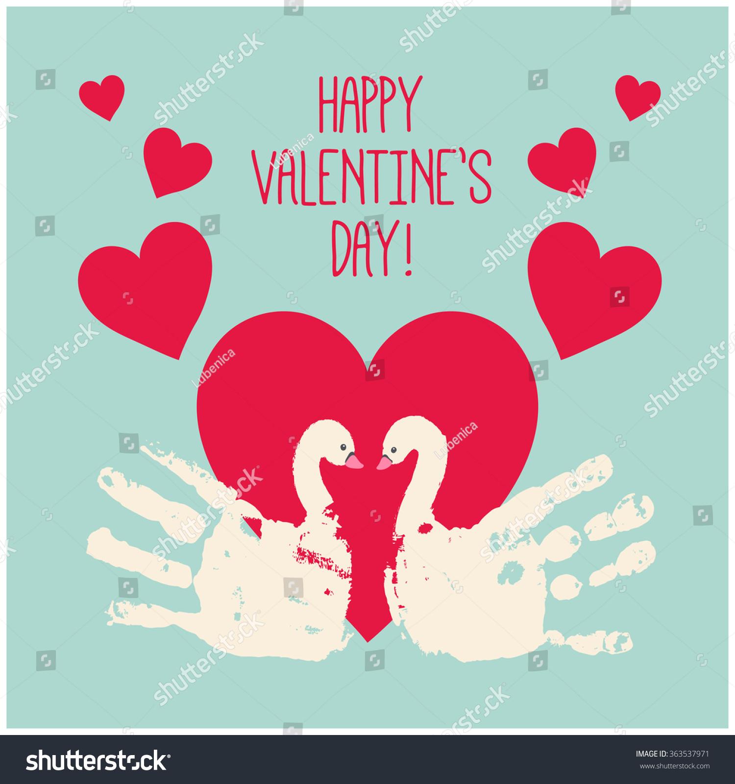 Happy Valentines Day Card Design Handprint Vector 363537971 – Valentines Day Card Designs