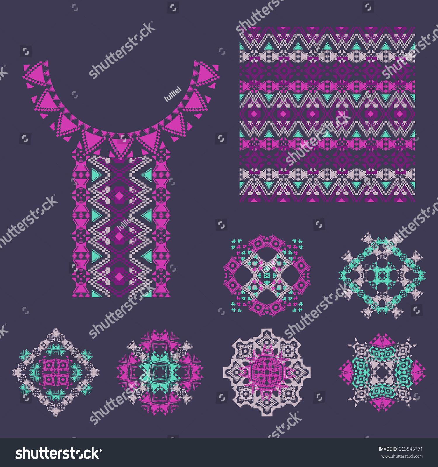 Vector Set Decorative Elements Design Fashion Stock Vector Royalty Free 363545771