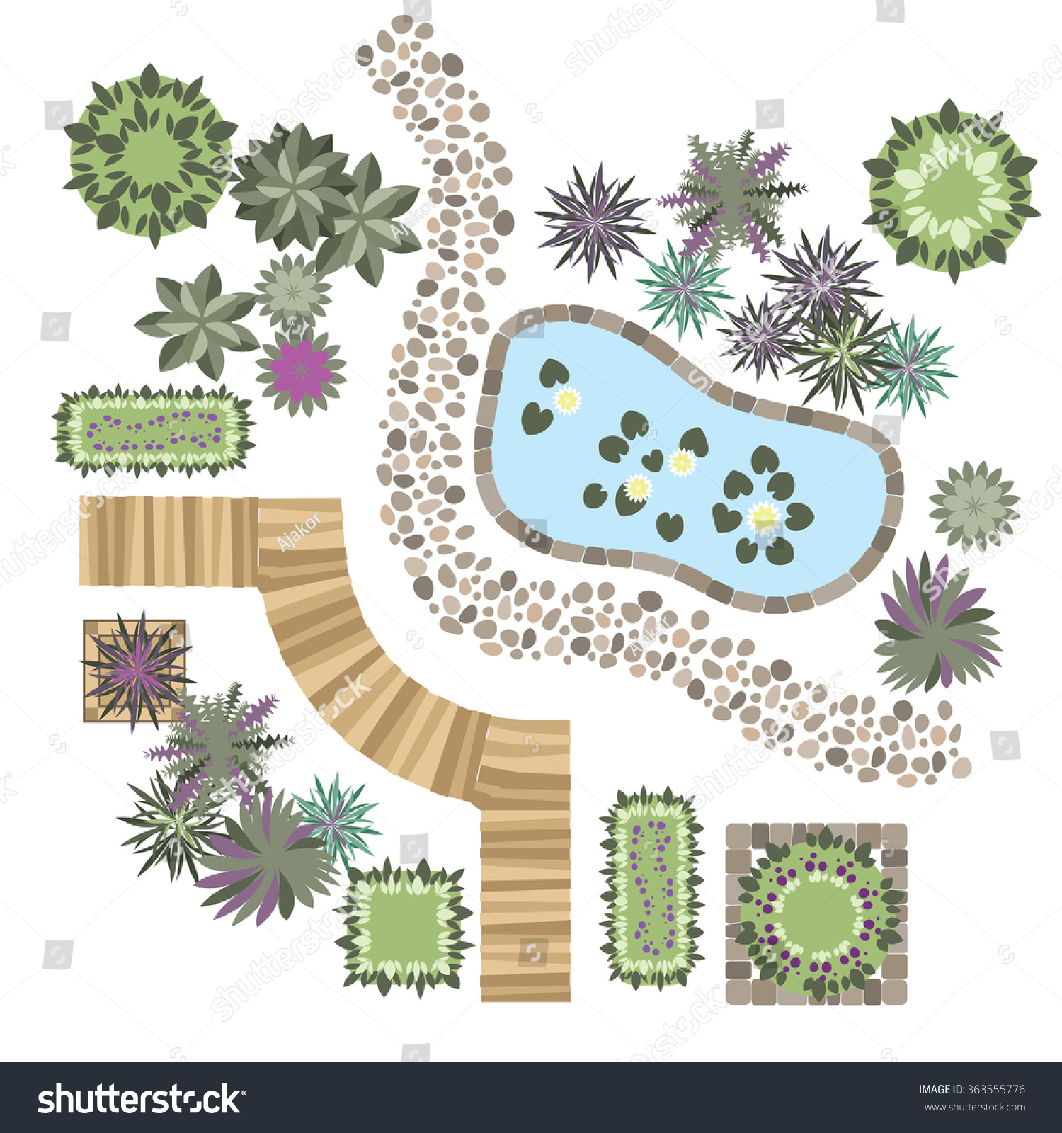 Set vector elements landscape design different stock for Landscape design paper