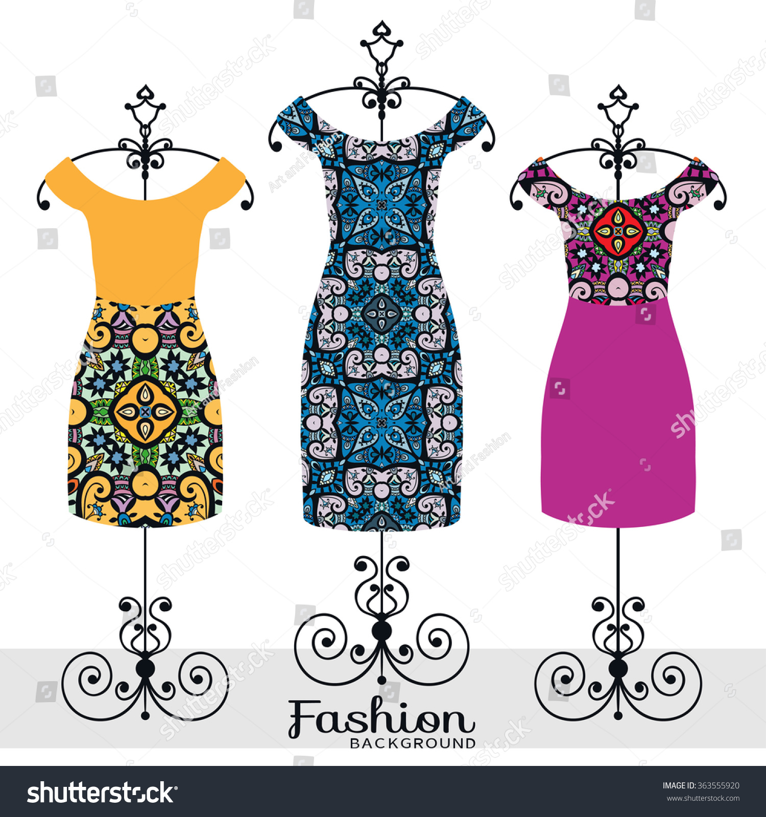 Vector Fashion Illustration Womens Dress Collection Stock Vector Royalty Free 363555920