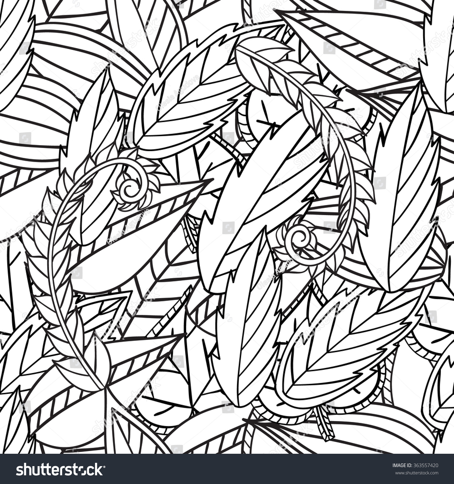 Hand Drawn Artistic Ethnic Ornamental Patterned Stock Vector 363557420