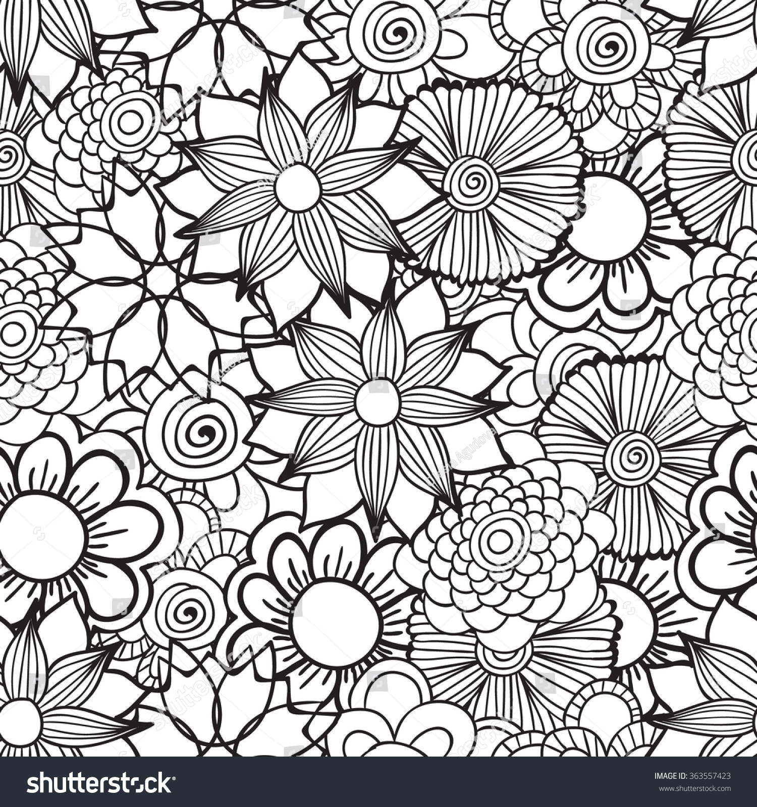 Hand Drawn Artistic Ethnic Ornamental Patterned Floral ...