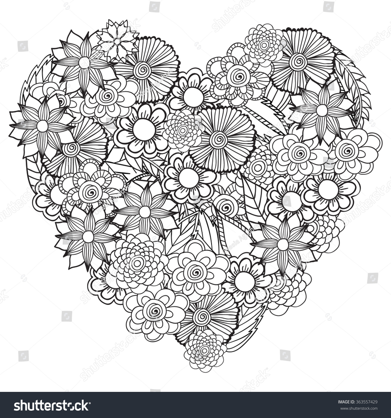 Heart flower coloring pages - Hand Drawn Artistic Ethnic Ornamental Patterned Floral Frame In Doodle Zentangle Style For Adult Coloring