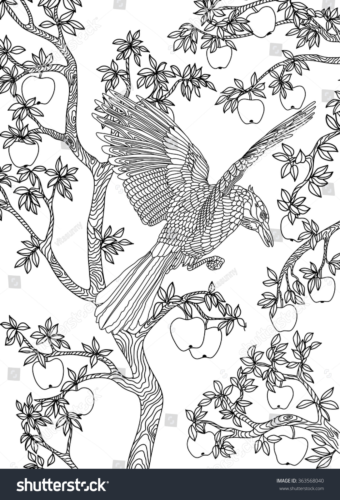Coloring book page apple tree - Hand Drawn Bird Raven On A Branch Apple Tree Coloring Page