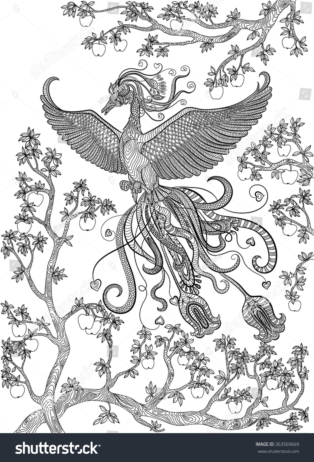 Coloring book page apple tree - Hand Drawn Bird Firebird On A Branch Apple Tree Coloring Page