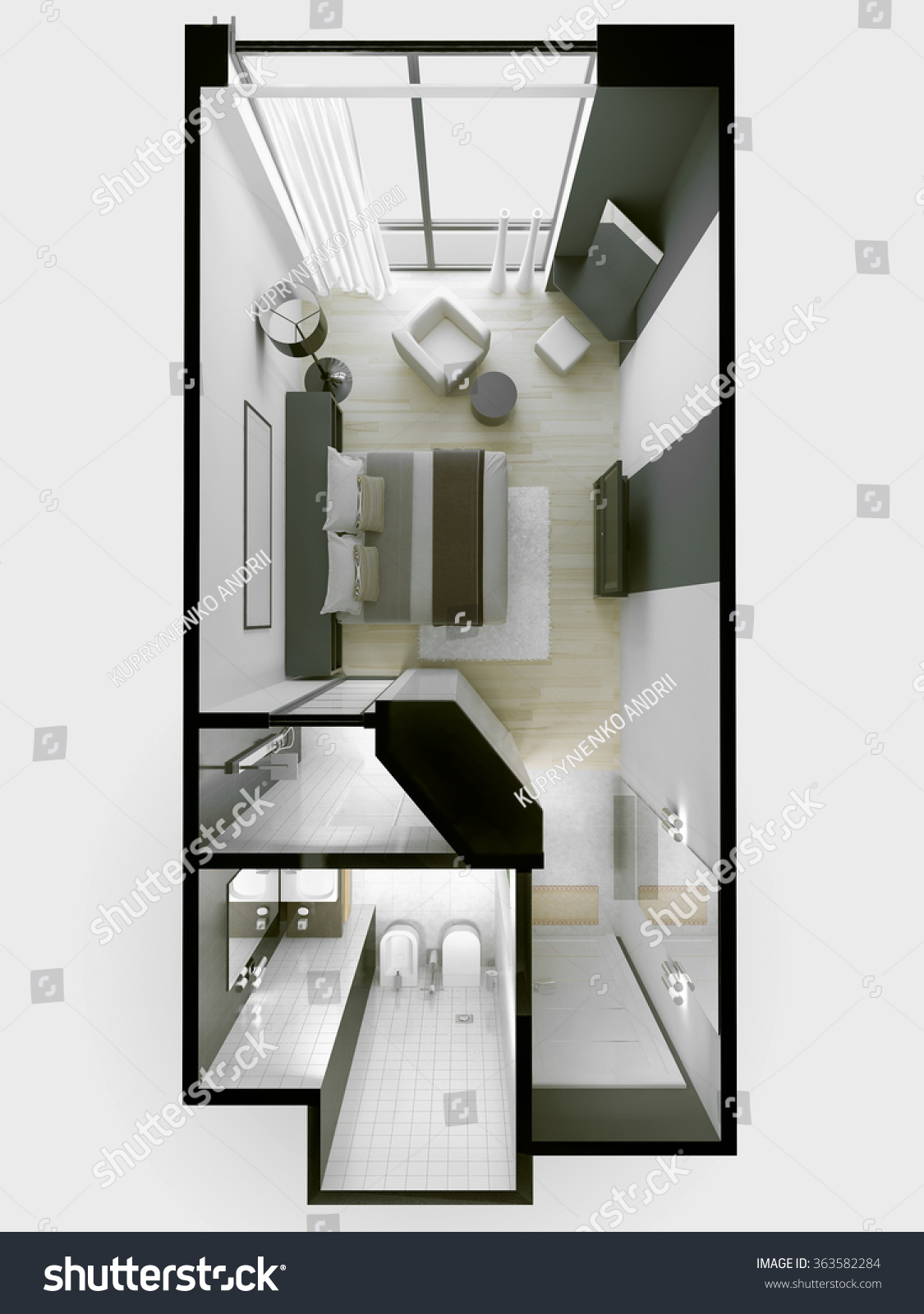 Interior 3 Star Hotel Apartments White Stock Illustration 363582284
