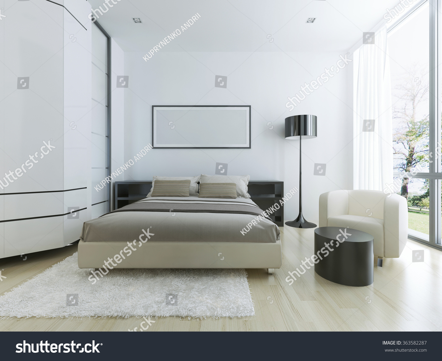 Luxury Hotel Room White Large Panoramic Stock Illustration 363582287 ...
