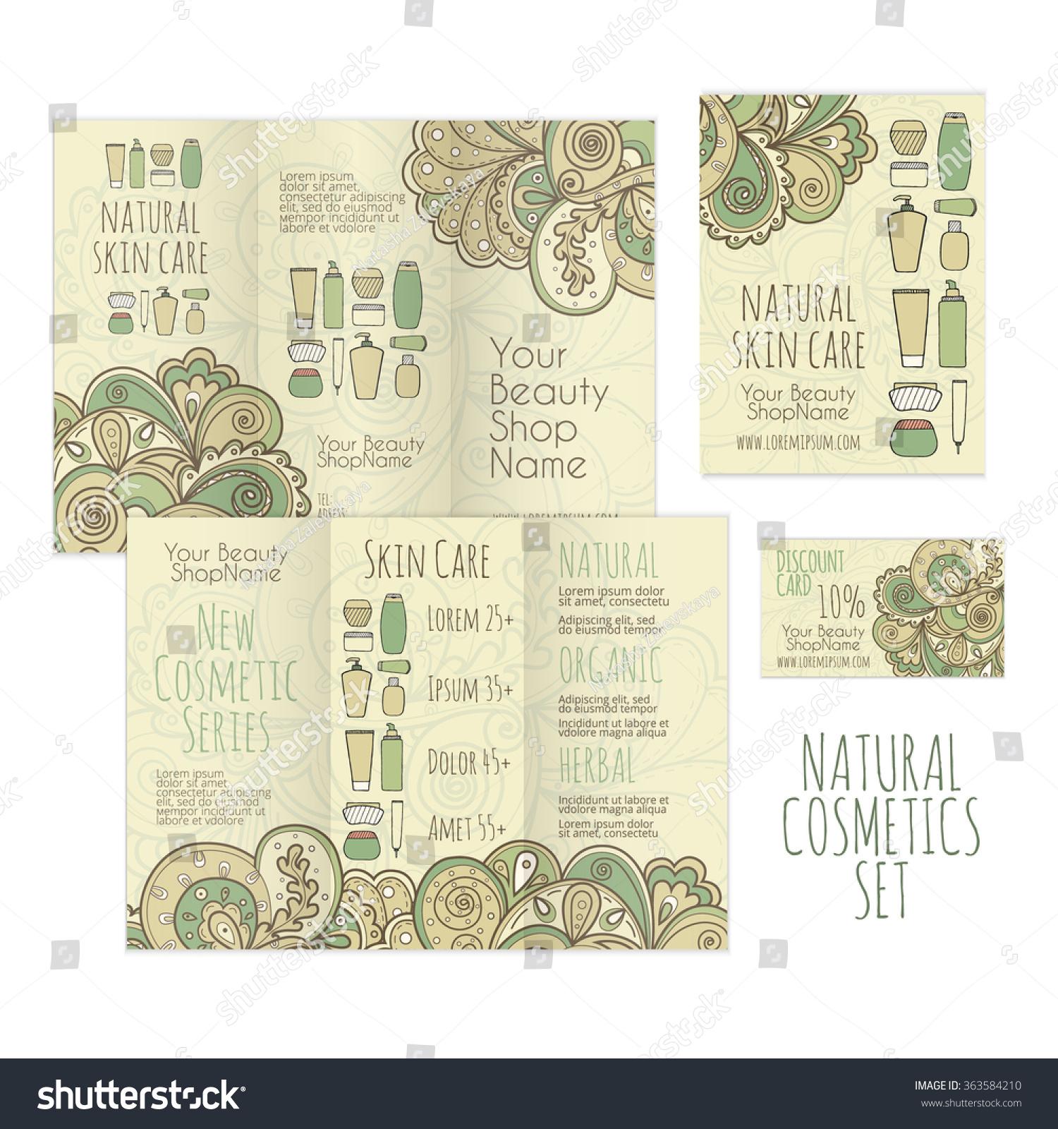 Printable Set Cosmetics Shop Brochure Leaflet Stock Vector 363584210 ...