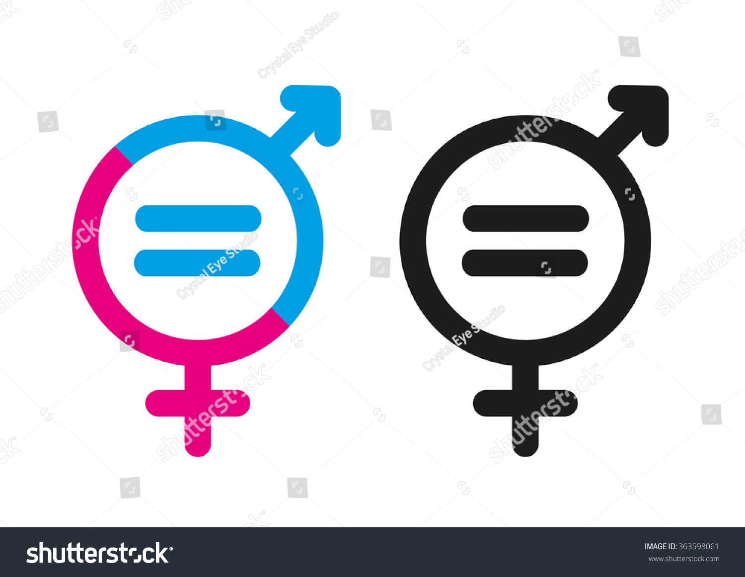 Female Male Symbols Mathematical Equal Sign Stock Vector Royalty