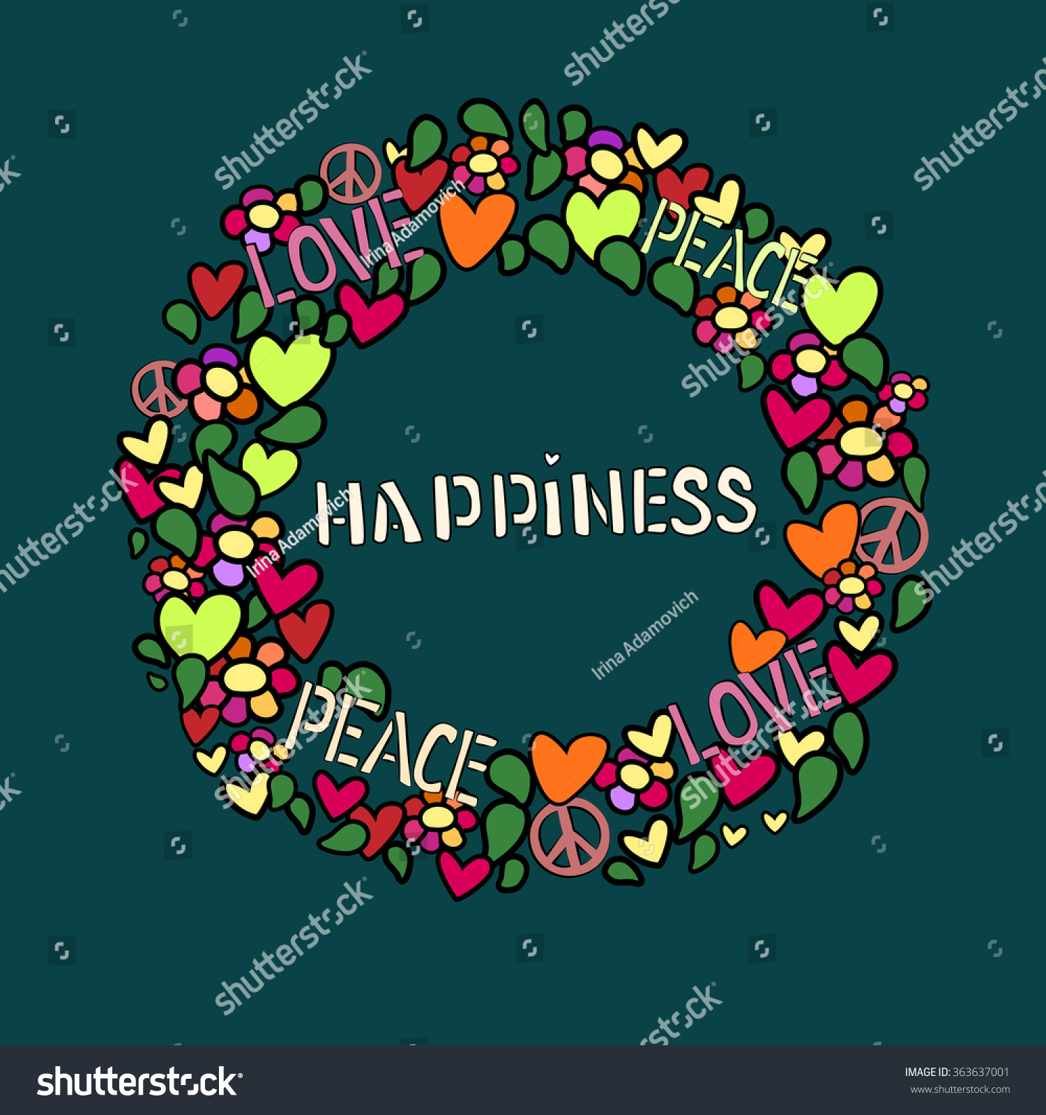 Text happiness round frame love peace stock vector 363637001 text happiness in round frame love peace and pacifism symbol in colorfull collage biocorpaavc Image collections