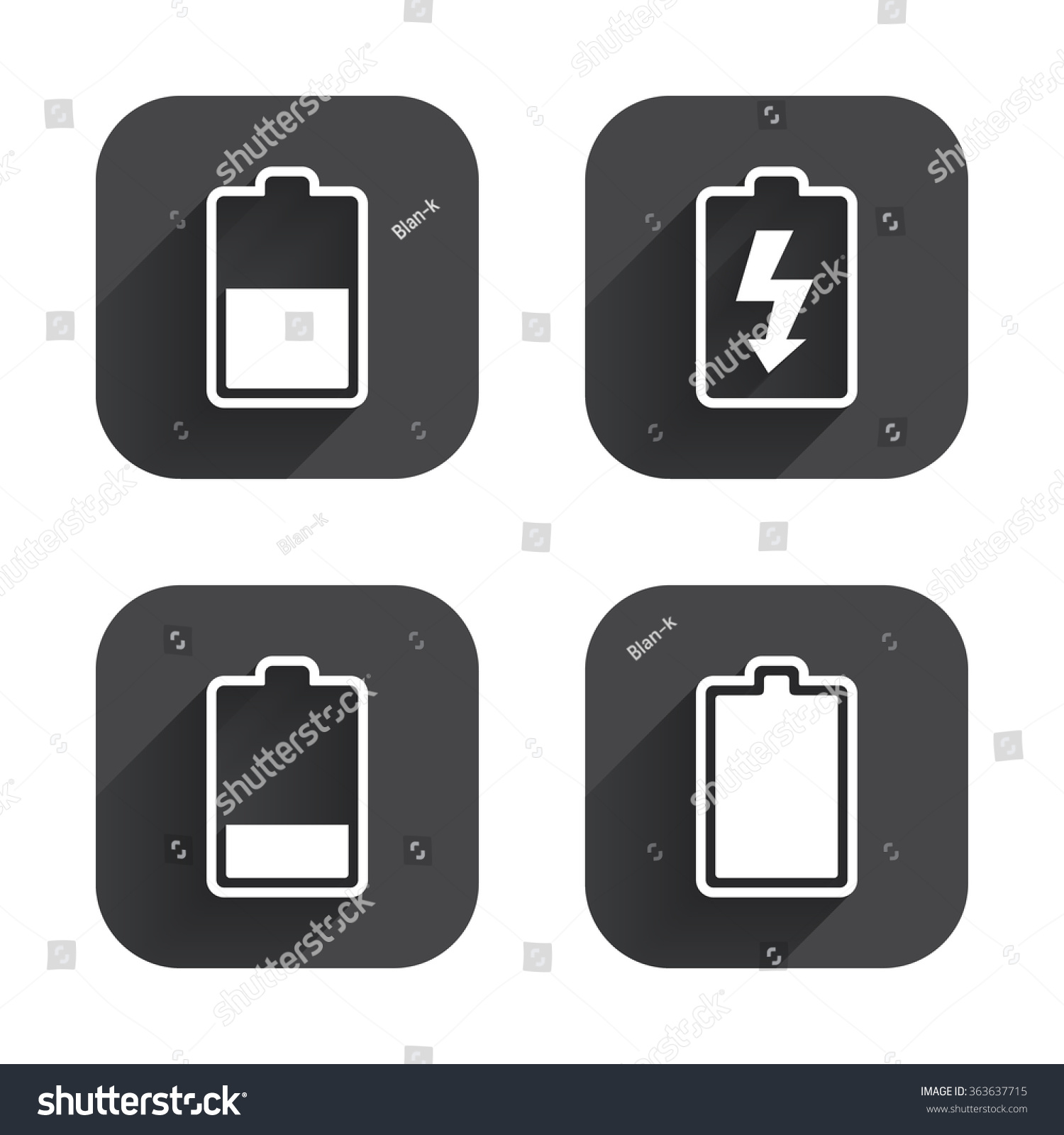 Battery Charging Icons Electricity Signs Symbols Stock Illustration ...