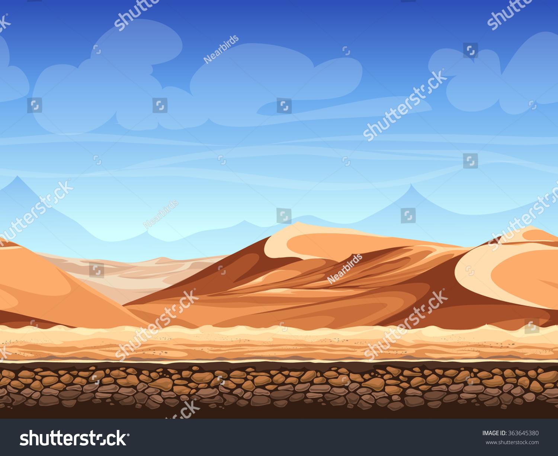 Vector Illustration Seamless Background Desert Game Stock
