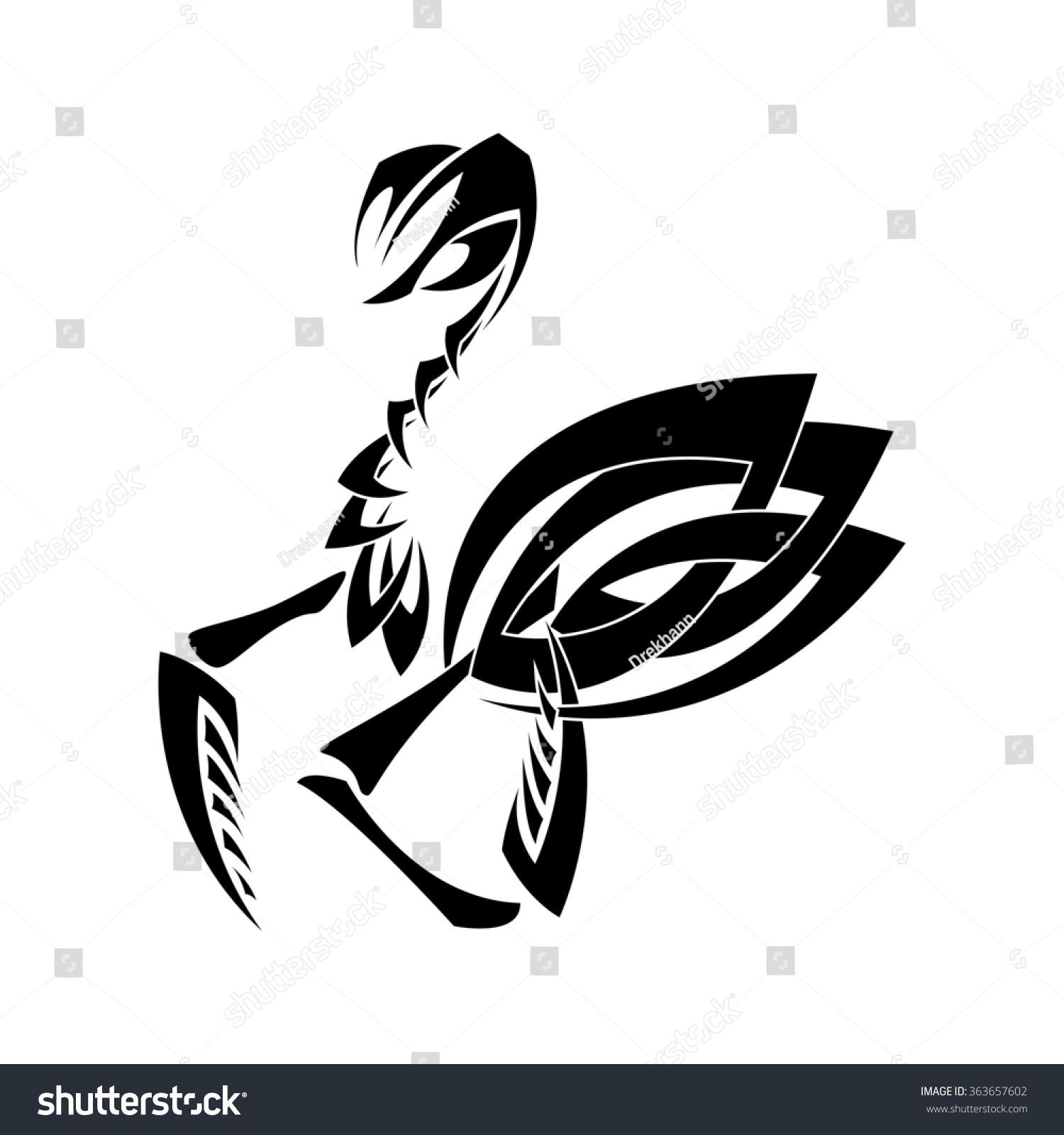 Image Praying Mantis Style Tribal Tattoo Stock Illustration 363657602