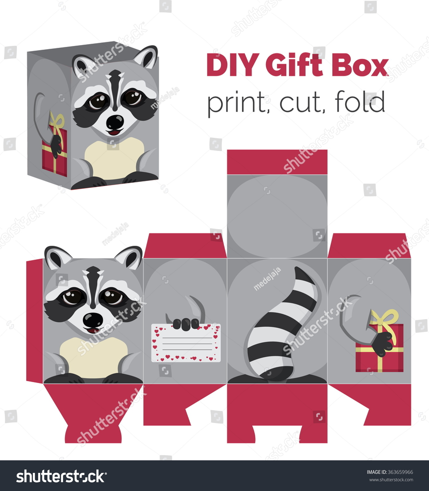 Adorable do yourself raccoon gift box vector de stock363659966 adorable do it yourself raccoon gift box with ears for sweets candies small presents solutioingenieria Choice Image