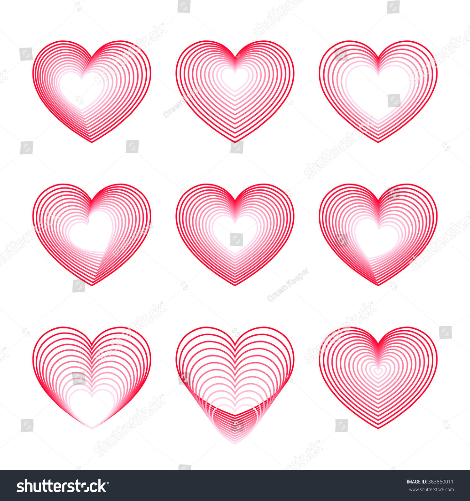 Red Heart Symbols Of Love Set Of Heart Shapes Made From Vector