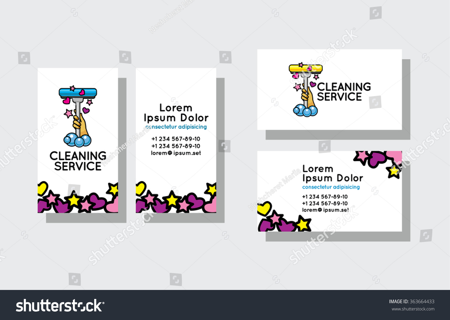 Set Business Cards Cleaning Service Stock Vector 363664433 ...