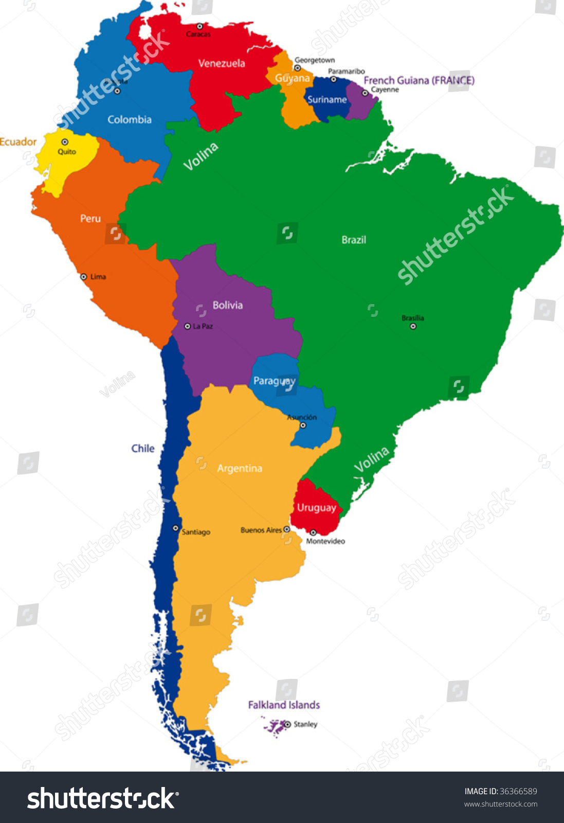 Colorful south america map with countries and capital for What color is south america