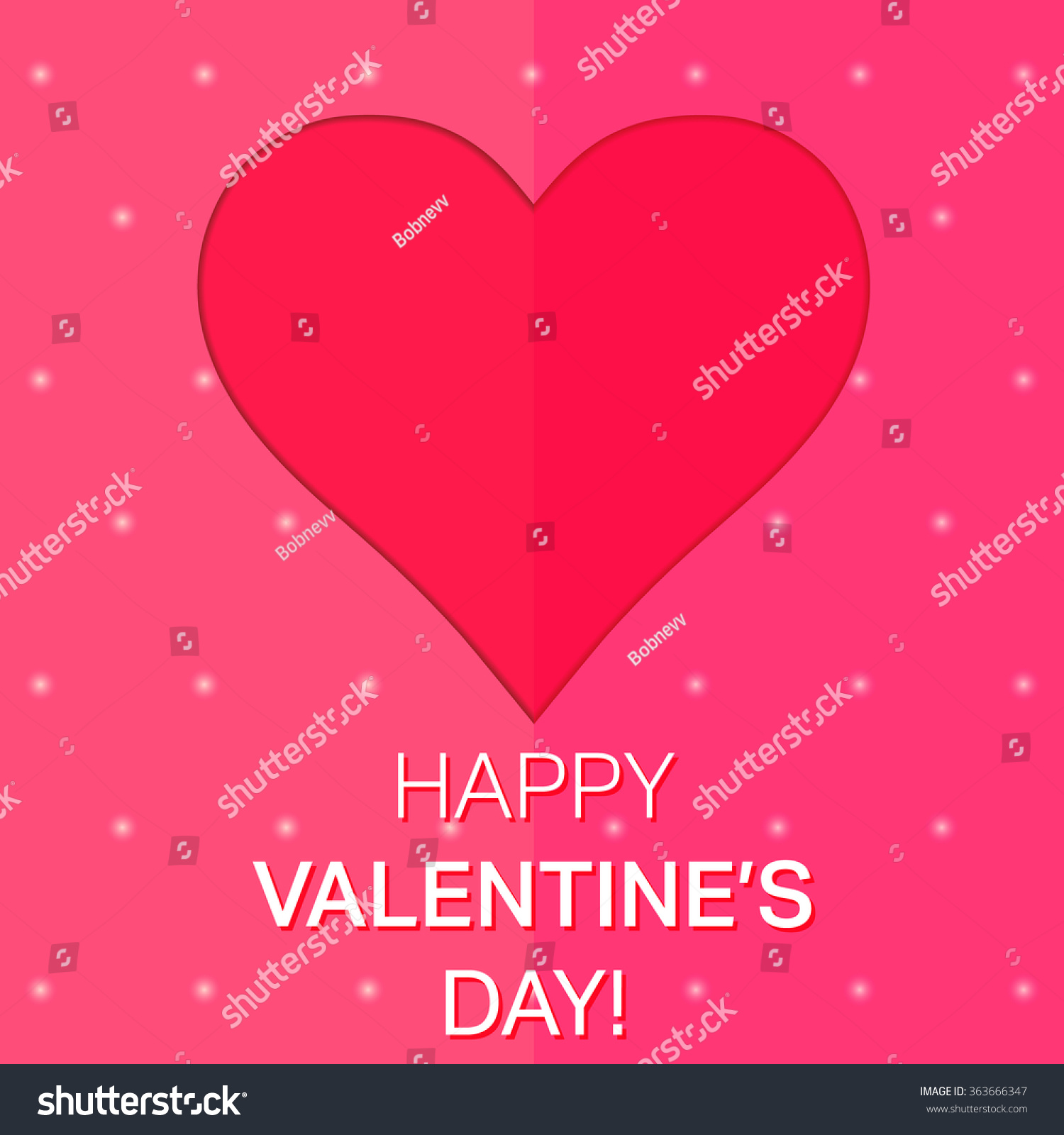Love Red Heart Template Happy Valentines Day Design Element For