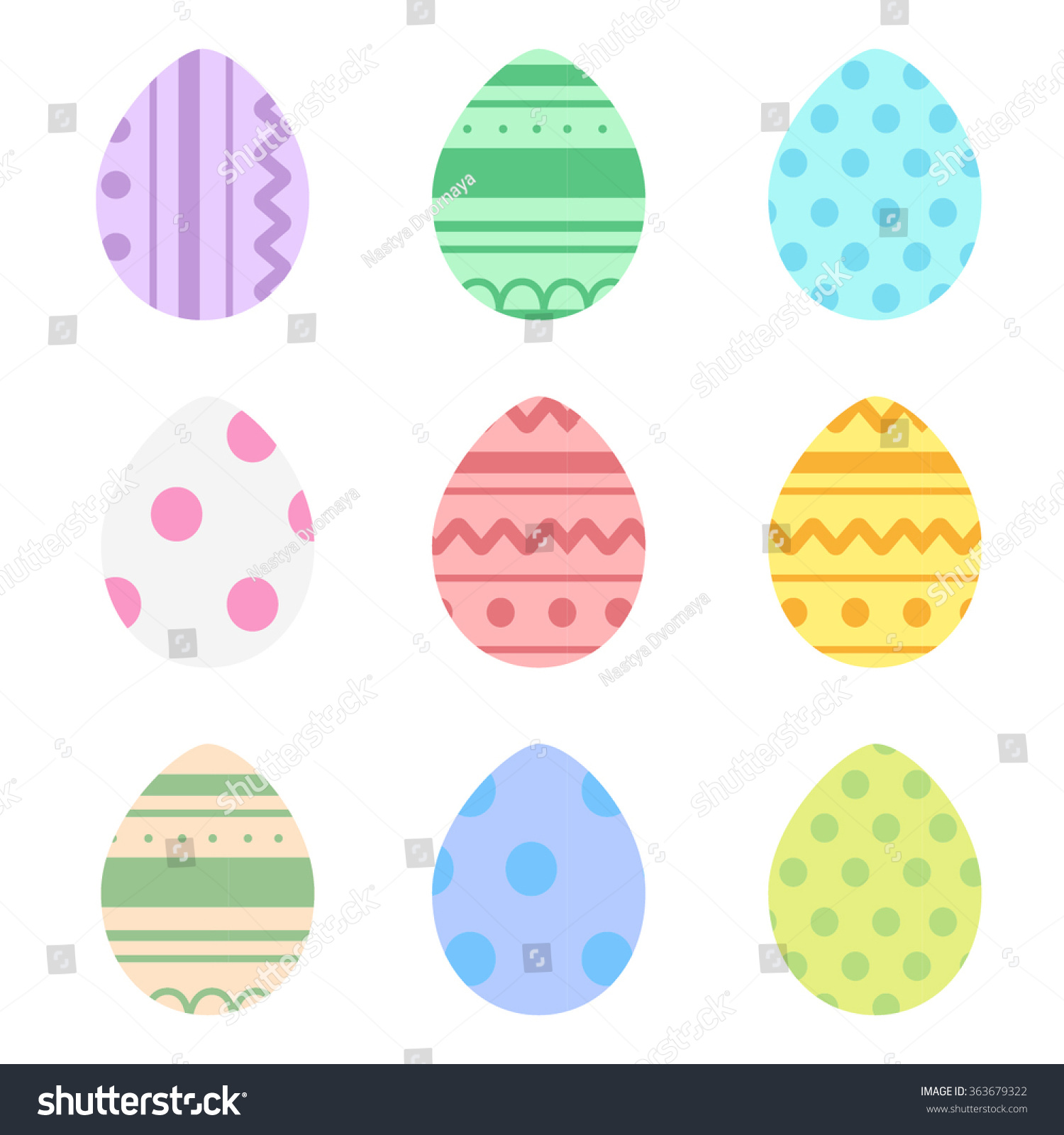 Pastel Decoraated Easter Eggs Vector