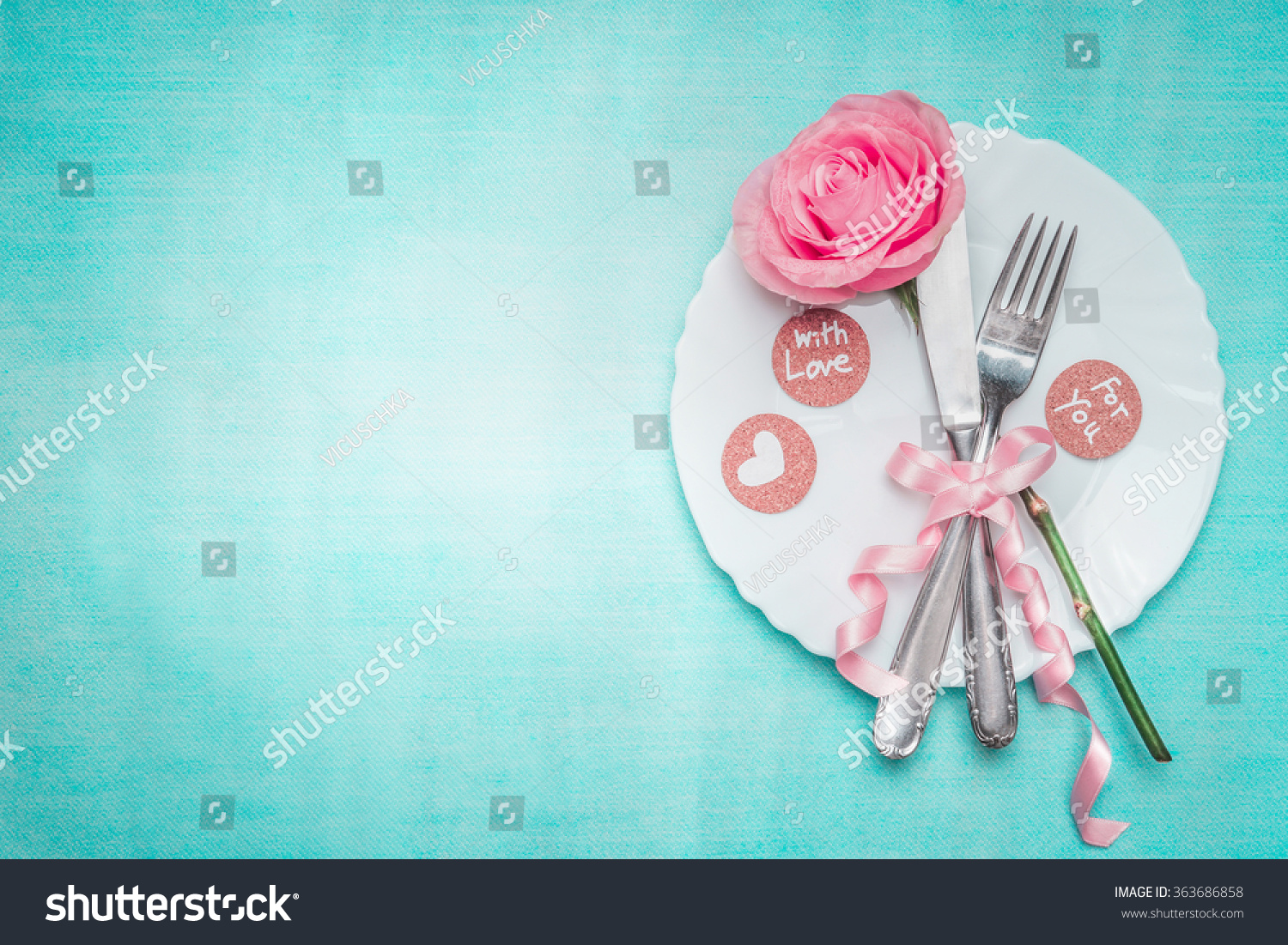 Dinner Table Background romantic dinner table place setting rose stock photo 363686858