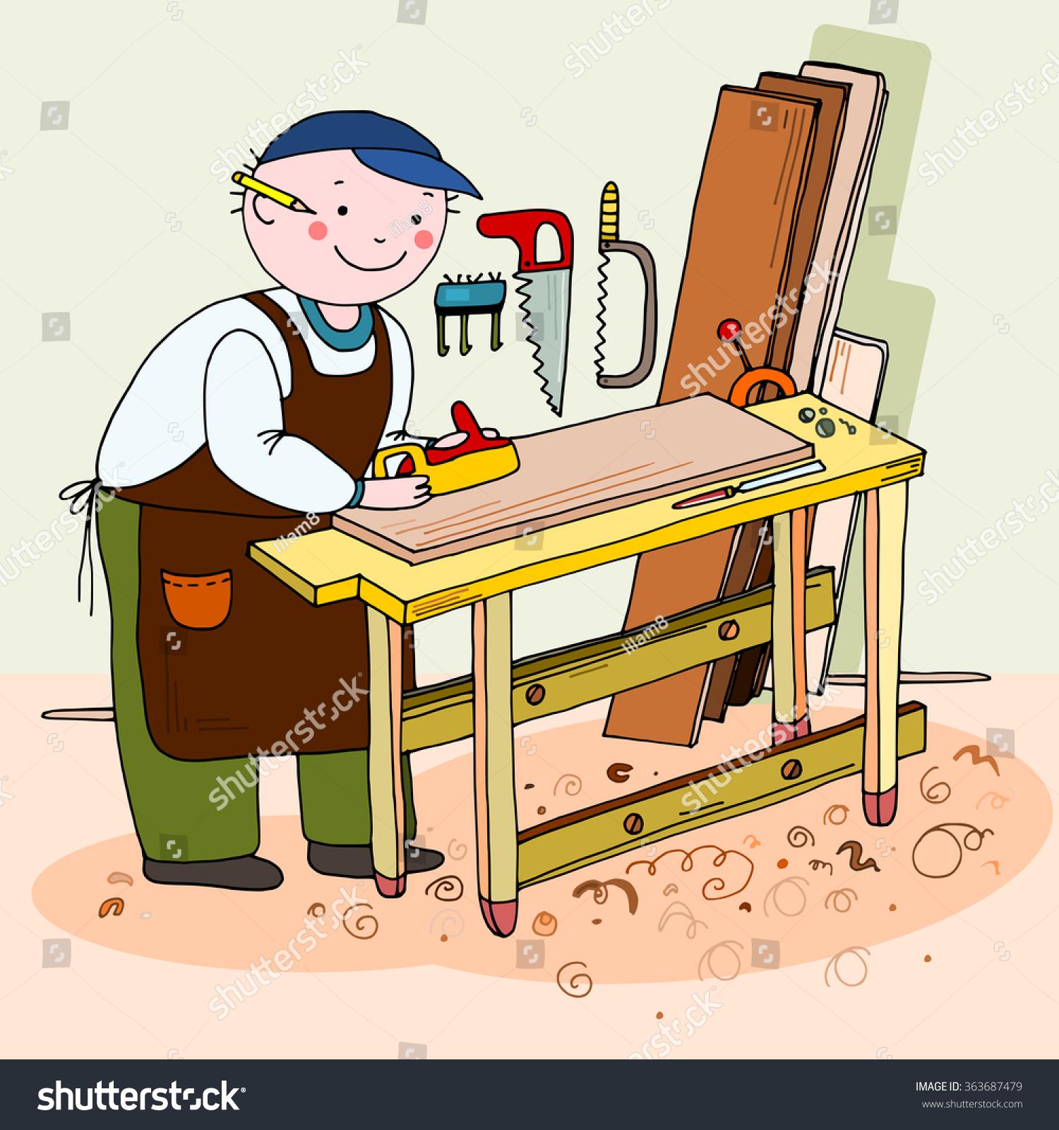 Cabinet Maker Clip Art: Carpenter Cabinetmaker Hand Drawn Vector Illustration