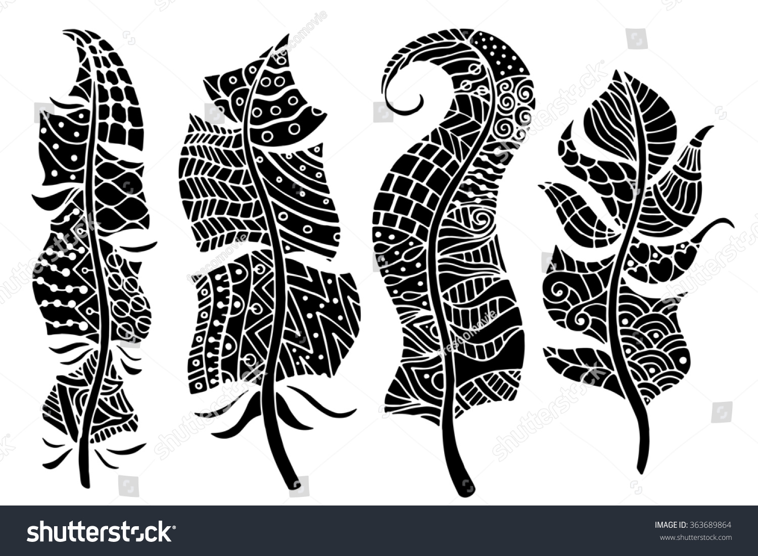 Line Art Feather : Hand drawn stylized feathers art collection stock illustration